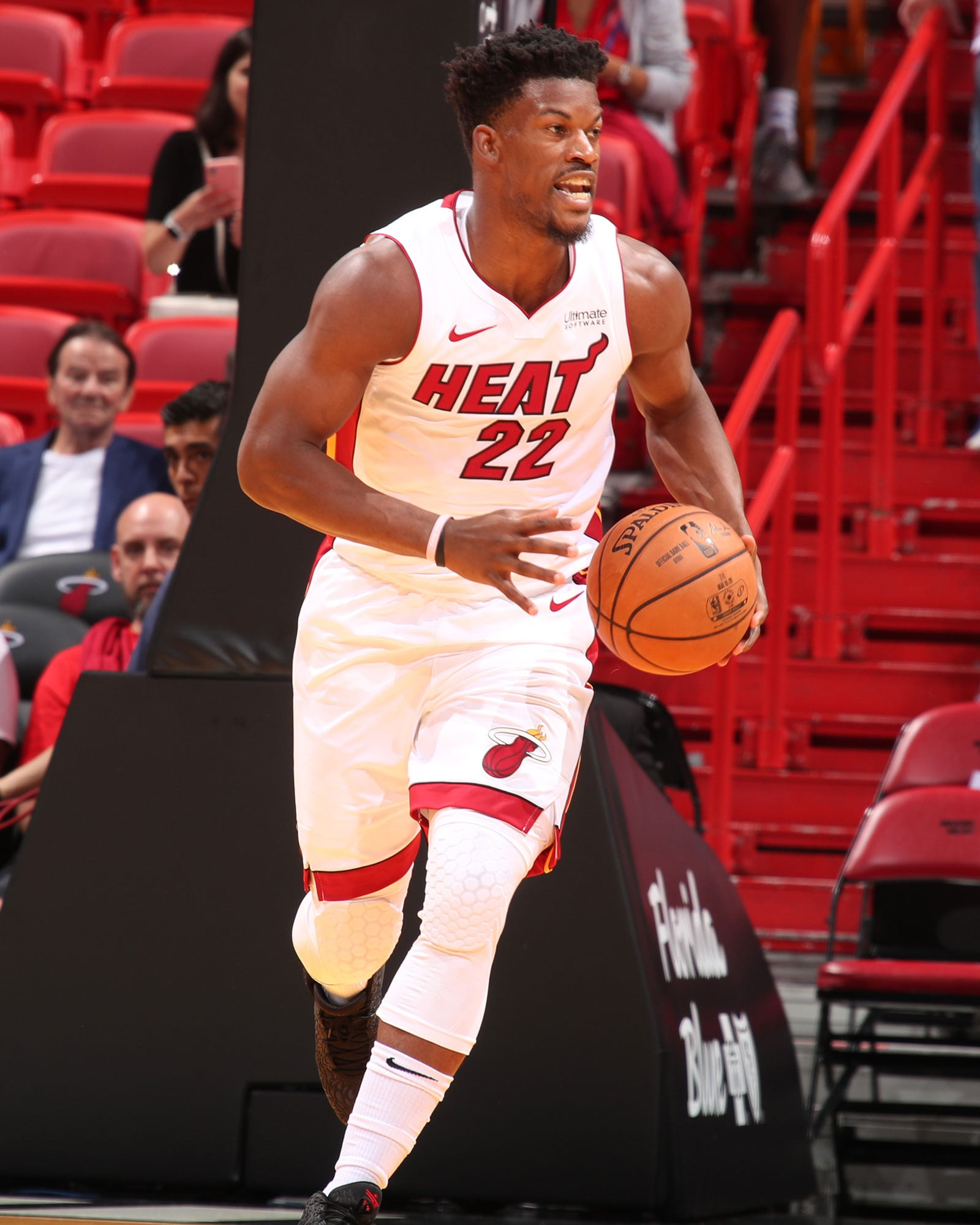 Jimmy Butler #22 of the Miami Heat handles the ball against the San Antonio Spurs on October 8, 2019 at American Airlines Arena in Miami, Florida.