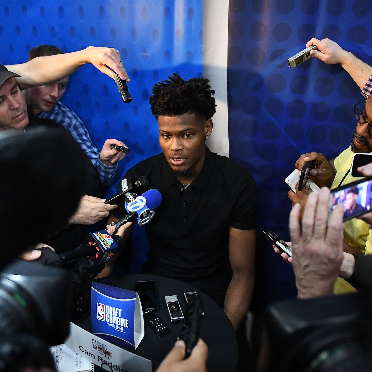 Cam Reddish talks to the media during the NBA Draft Combine