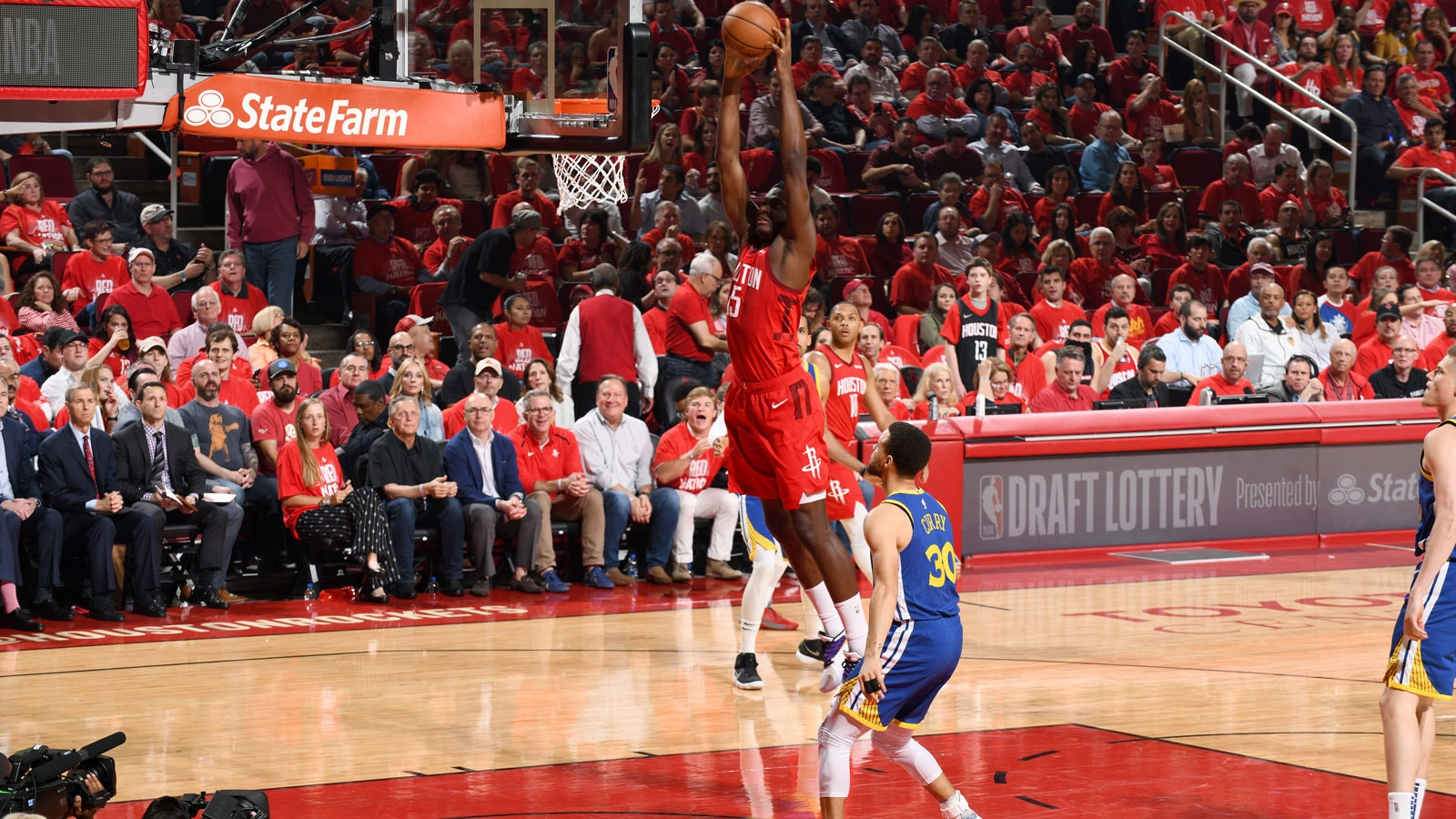 Clint Capela #15 of the Houston Rockets dunks the ball against the Golden State Warriors during Game Six of the Western Conference Semifinals of the 2019 NBA Playoffs on May 10, 2019 at the Toyota Center in Houston, Texas.