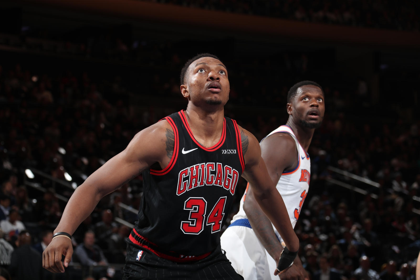 Wendell Carter Jr. looking up for a rebound