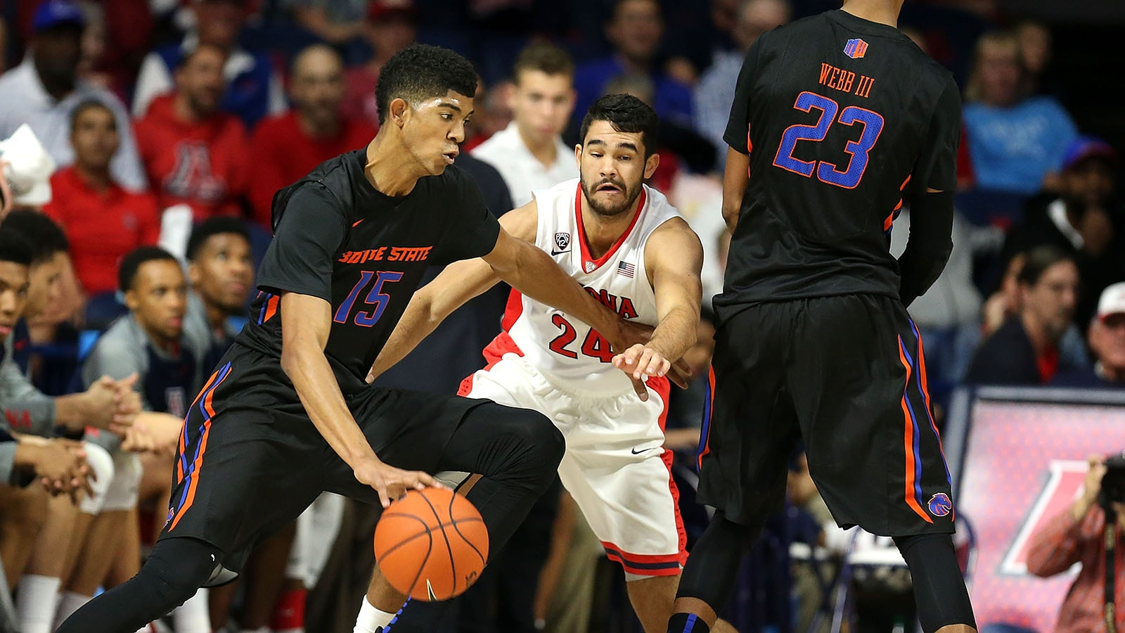 Chandler Hutchison playing for Boise State
