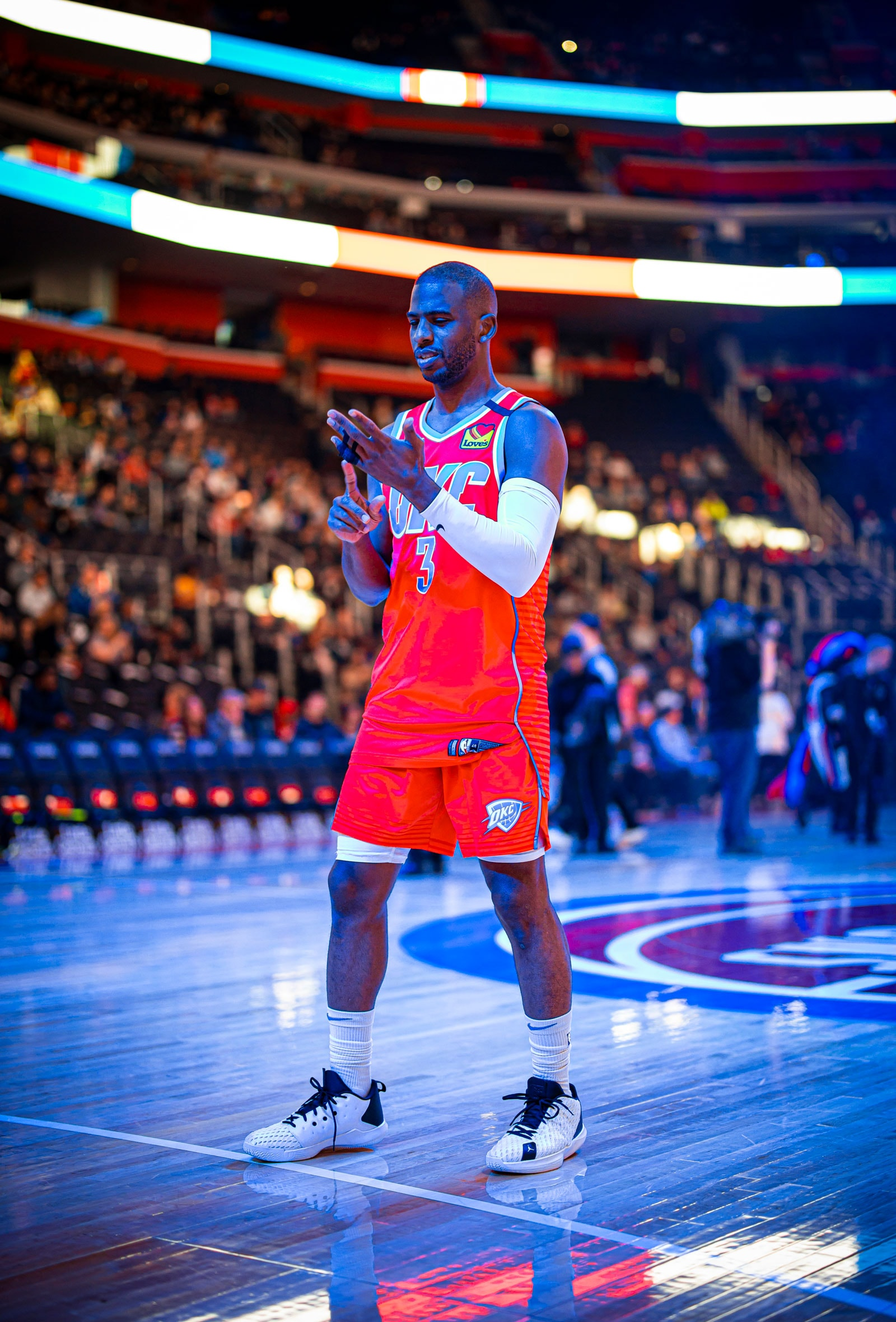 Chris Paul #3 of the Oklahoma City Thunder looks on during the game against the Detroit Pistons on March 4, 2020 at Chesapeake Energy Arena in Oklahoma City, Oklahoma.