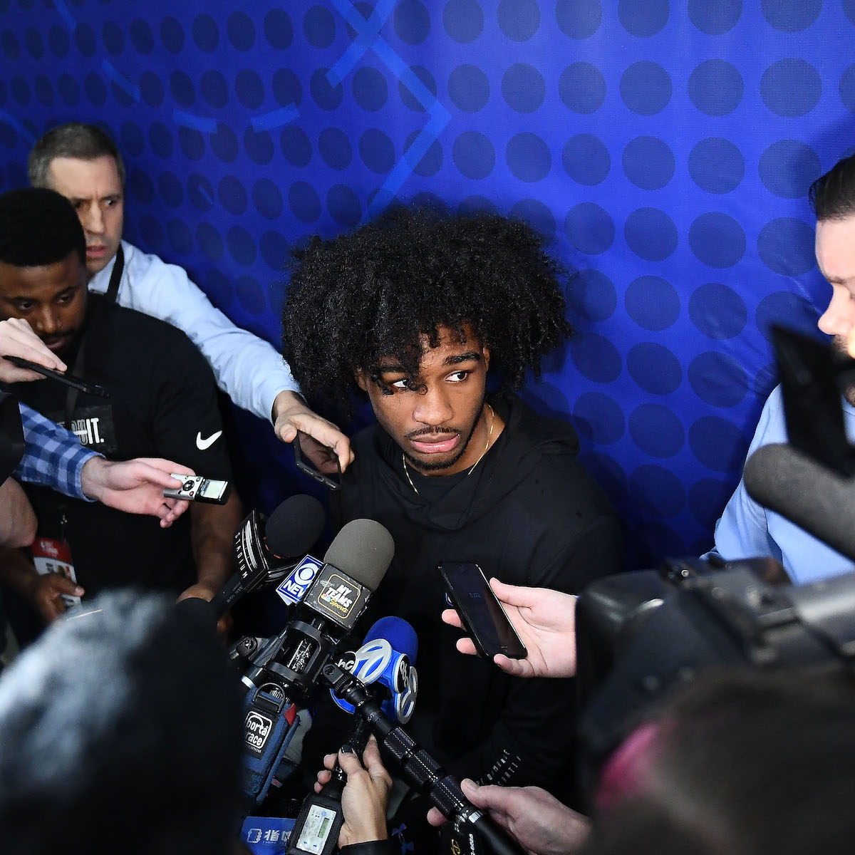 Coby White talks to the media at the NBA Draft Combine