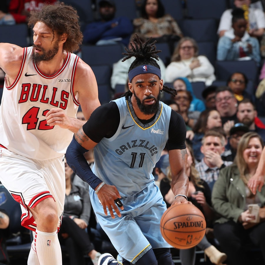Mike Conley #11 of the Memphis Grizzlies handles the ball against the Chicago Bulls on February 27, 2019 at FedExForum in Memphis, Tennessee.