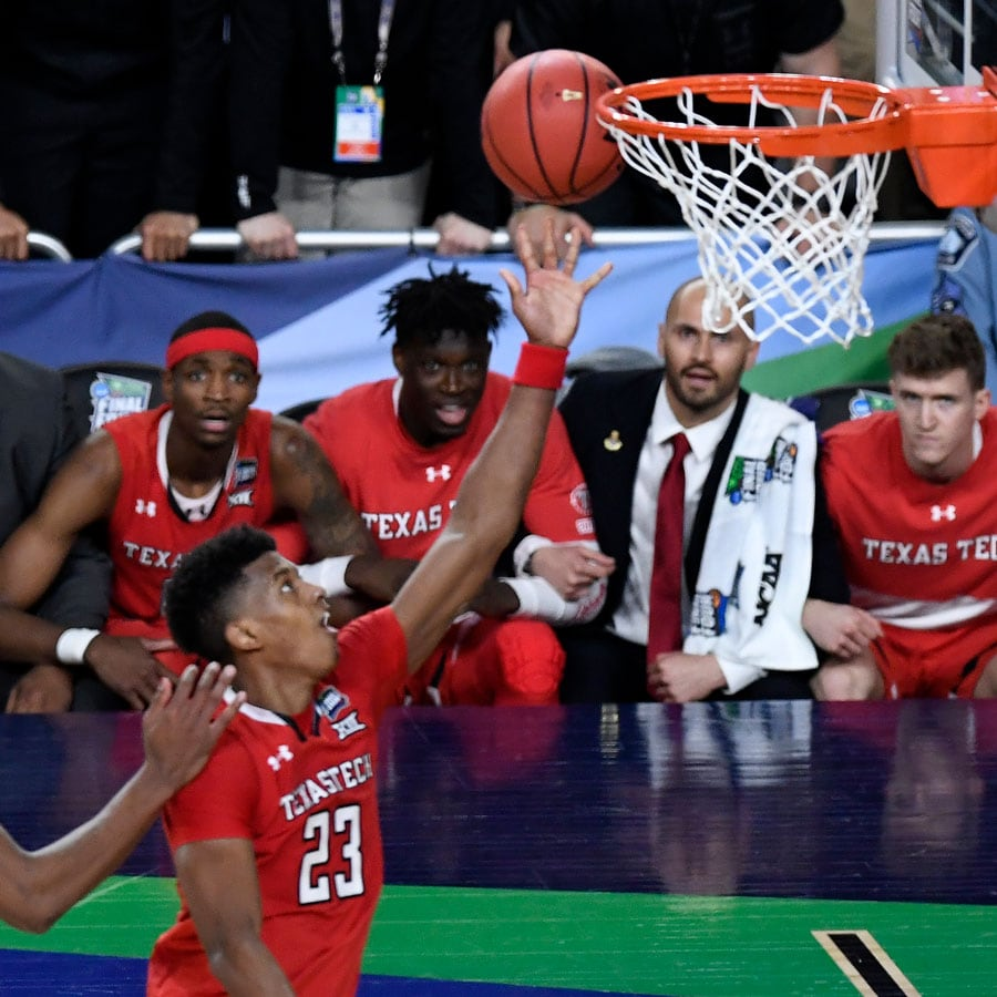 Jarrett Culver #23 of the Texas Tech Red Raiders attempts a shot against the Virginia Cavaliers in the second half during the 2019 NCAA men's Final Four National Championship game at U.S. Bank Stadium on April 08, 2019 in Minneapolis, Minnesota.