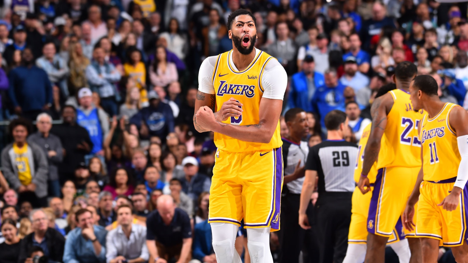 Anthony Davis #3 of the Los Angeles Lakers reacts to a play against the Dallas Mavericks on November 1, 2019 at the American Airlines Center in Dallas, Texas.