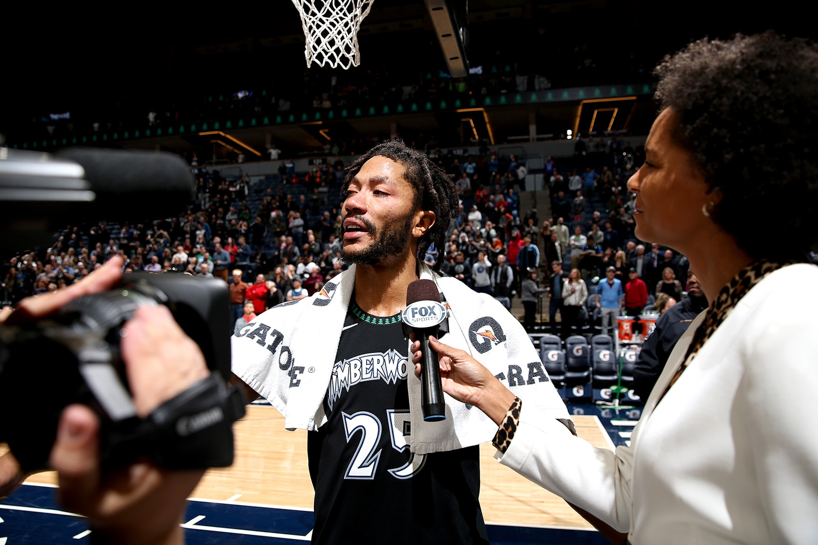 Derrick Rose Talks to the media after scoring 50 points for the Minnesota Timerwolves