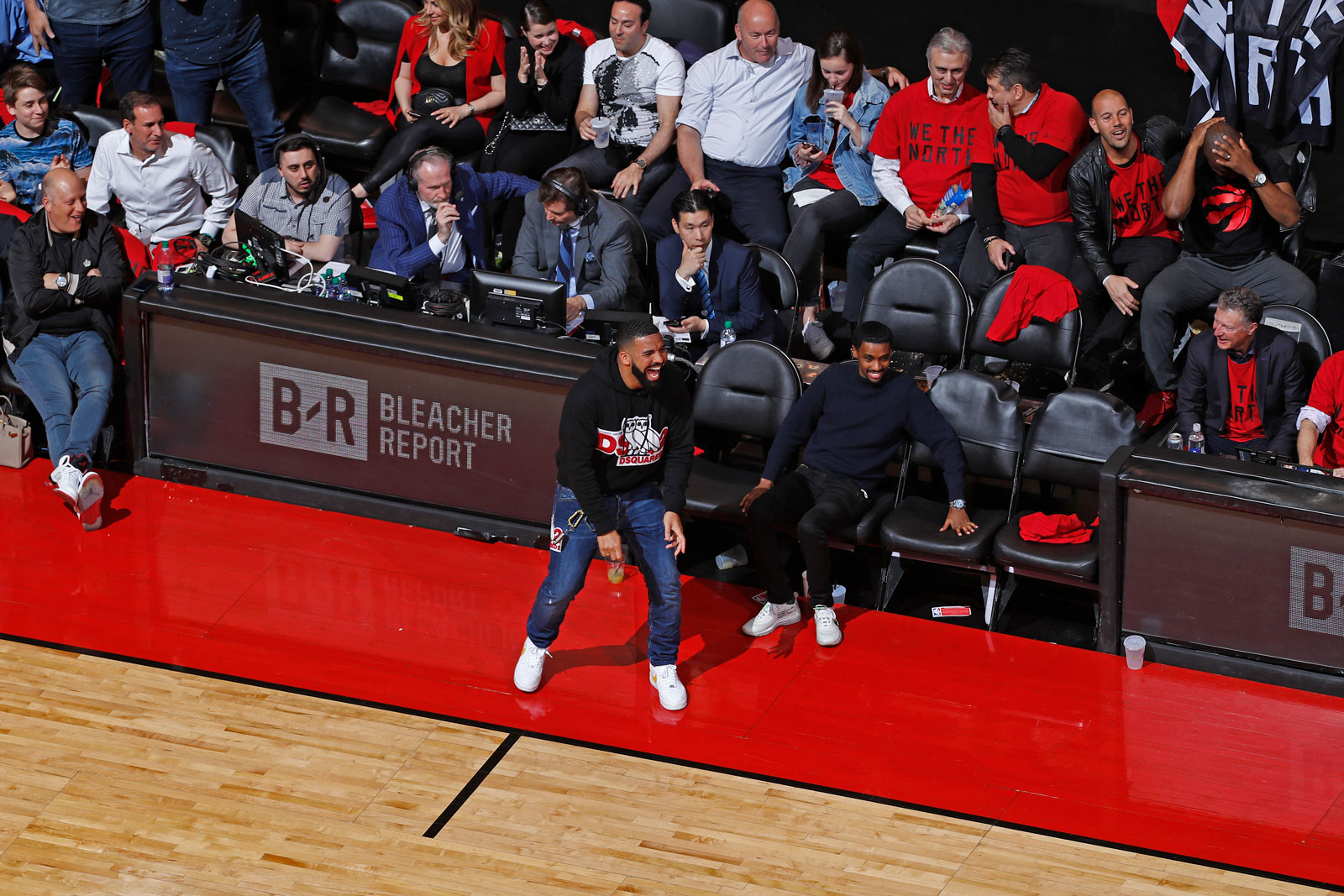 Rapper, Drake, reacts during a game between the Milwaukee Bucks and the Toronto Raptors during Game Four of the Eastern Conference Finals on May 21, 2019 at the Scotiabank Arena in Toronto, Ontario, Canada.