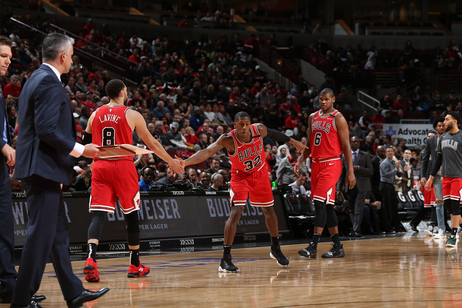 Dunn and LaVine high five