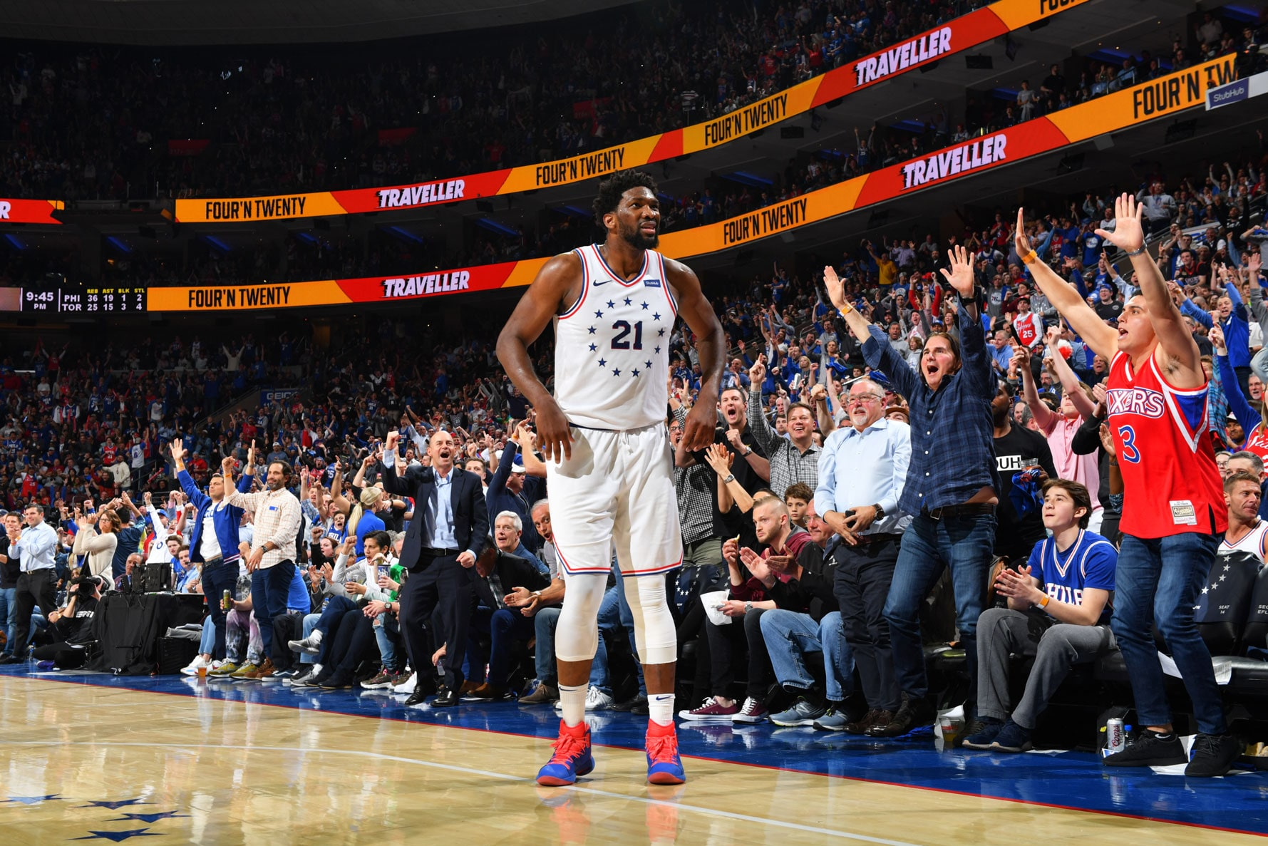 Joel Embiid #21 of the Philadelphia 76ers reacts during a game against the Toronto Raptors during Game Six of the Eastern Conference Semifinals on May 9, 2019 at the Wells Fargo Center in Philadelphia, Pennsylvania
