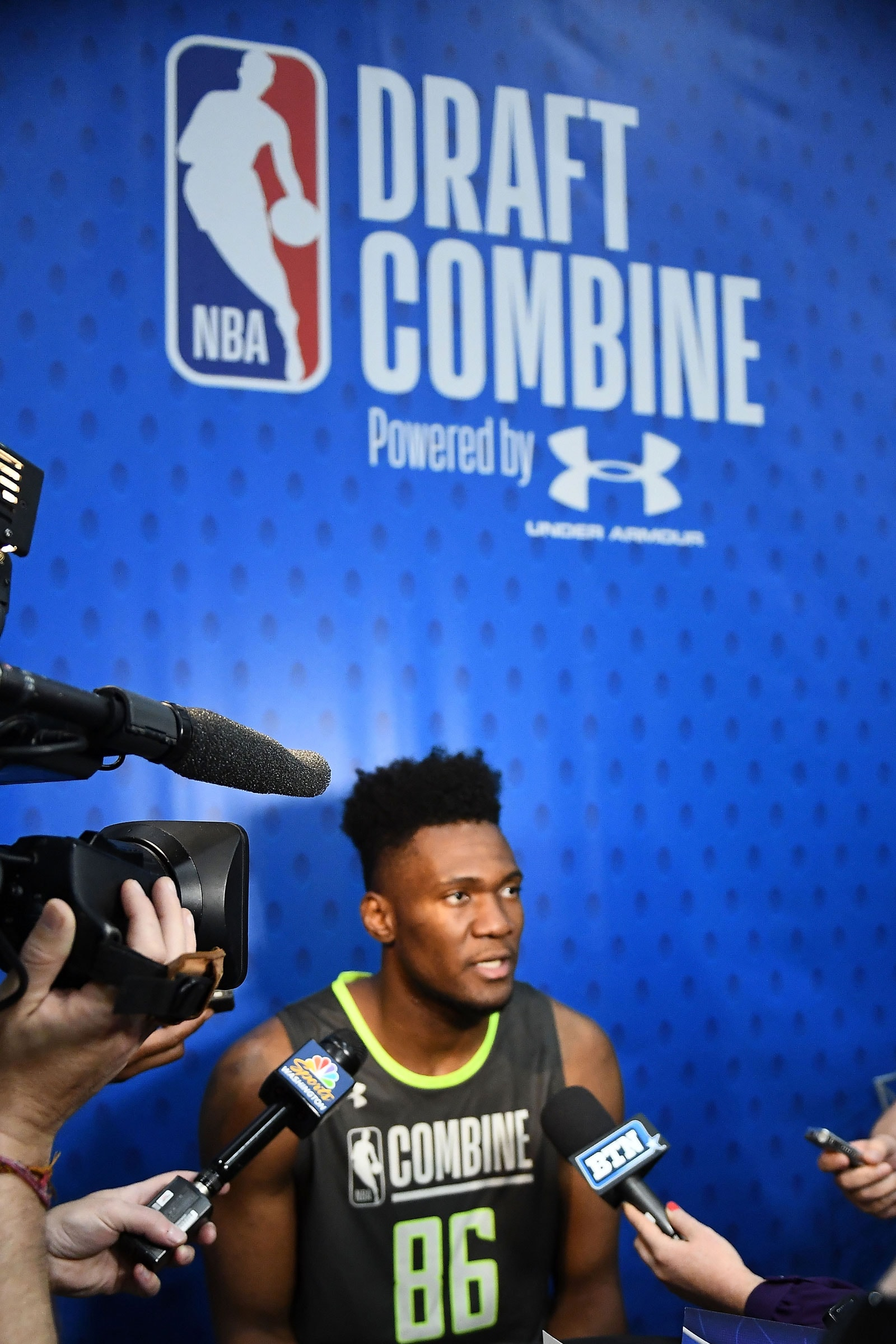 Bruno Fernando speaks with the media during Day One of the NBA Draft Combine at Quest MultiSport Complex on May 16, 2019 in Chicago, Illinois.