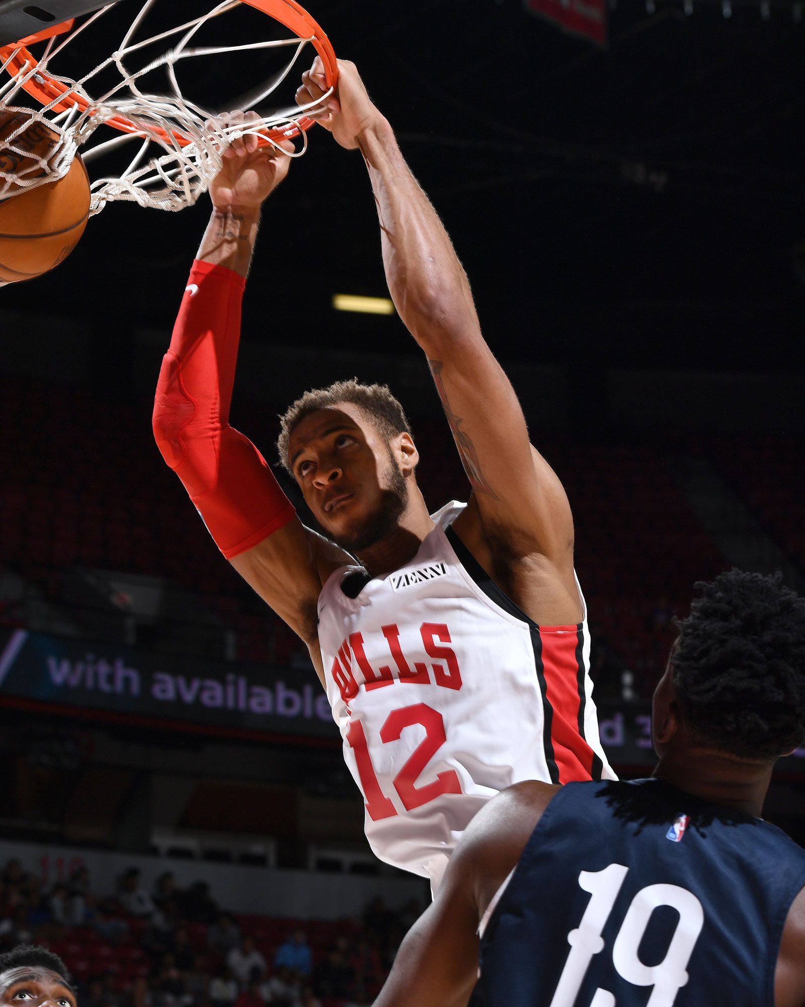 Daniel Gafford #12 of the Chicago Bulls dunks the ball against the New Orleans Pelicans on July 8, 2019 at the Thomas & Mack Center in Las Vegas, Nevada.