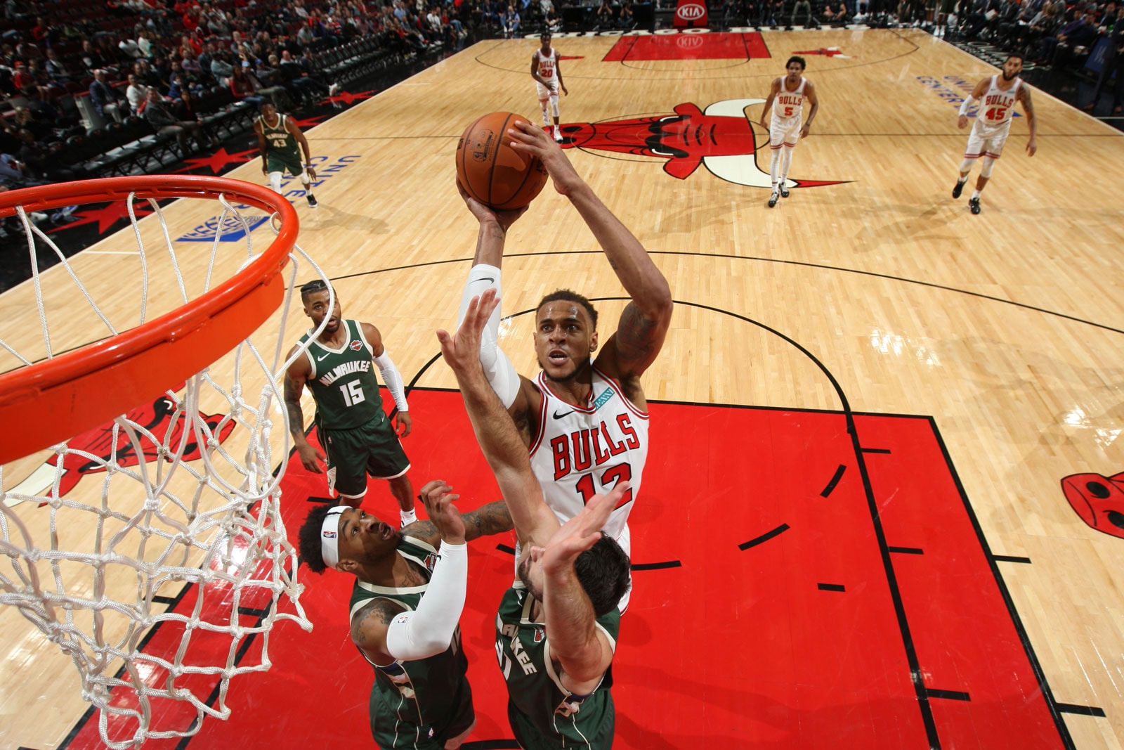 Daniel Gafford #12 of Chicago Bulls shoots the ball against the Milwaukee Bucks on October 7, 2019 at the United Center in Chicago, Illinois.