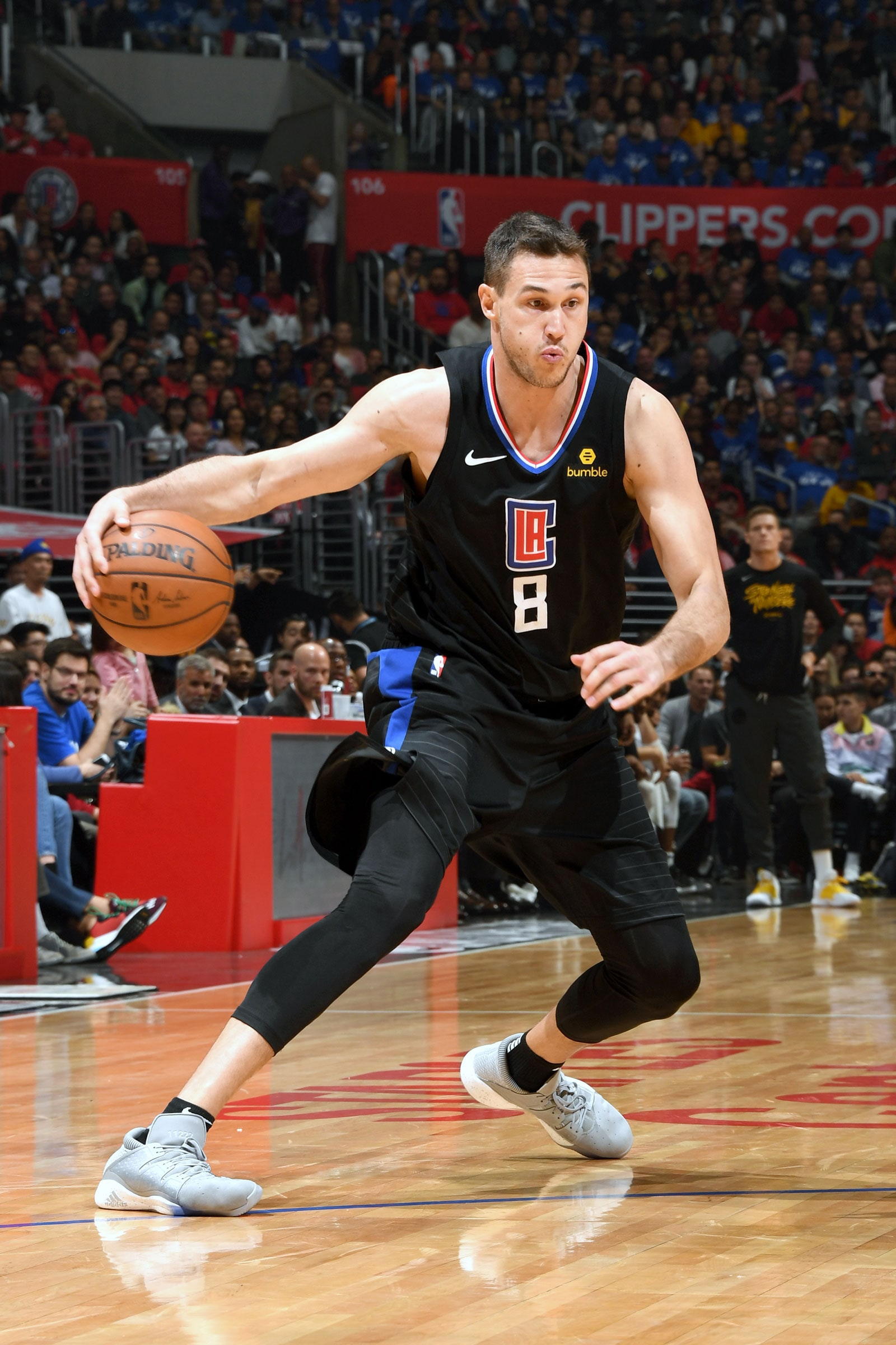 Danilo Gallinari #8 of the LA Clippers handles the ball against the Golden State Warriors during Game Six of Round One of the 2019 NBA Playoffs on April 26, 2019 at STAPLES Center in Los Angeles, California.