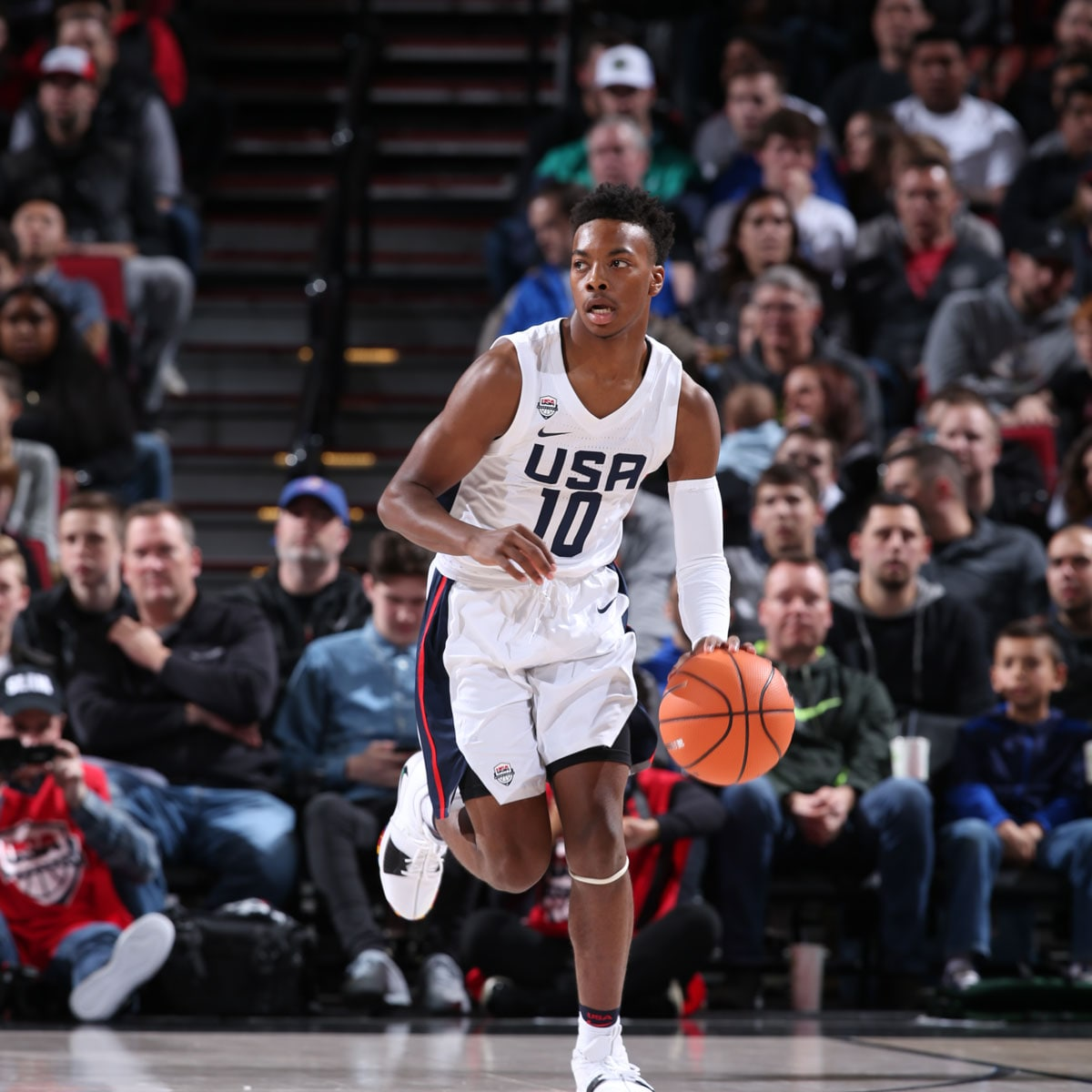 Darius Garland #10 of Team USA dribbles the ball against Team World during the Nike Hoop Summit on April 13, 2018 at the MODA Center Arena in Portland, Oregon.