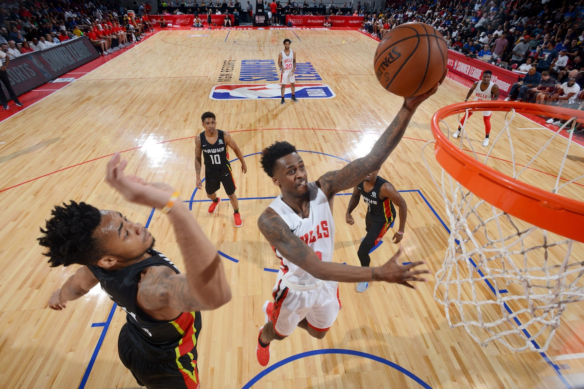 Antonio Blakeney soars into the air and towards the basket to score against the Antlanta Hawks during Summer Leauge