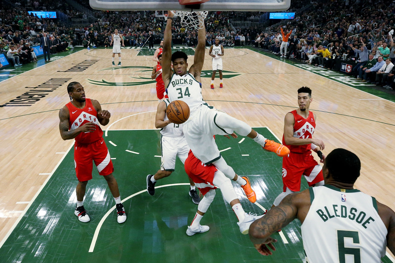 Giannis Antetokounmpo #34 of the Milwaukee Bucks dunks the ball in the first quarter against the Toronto Raptors during Game Five of the Eastern Conference Finals of the 2019 NBA Playoffs at the Fiserv Forum on May 23, 2019 in Milwaukee, Wisconsin.