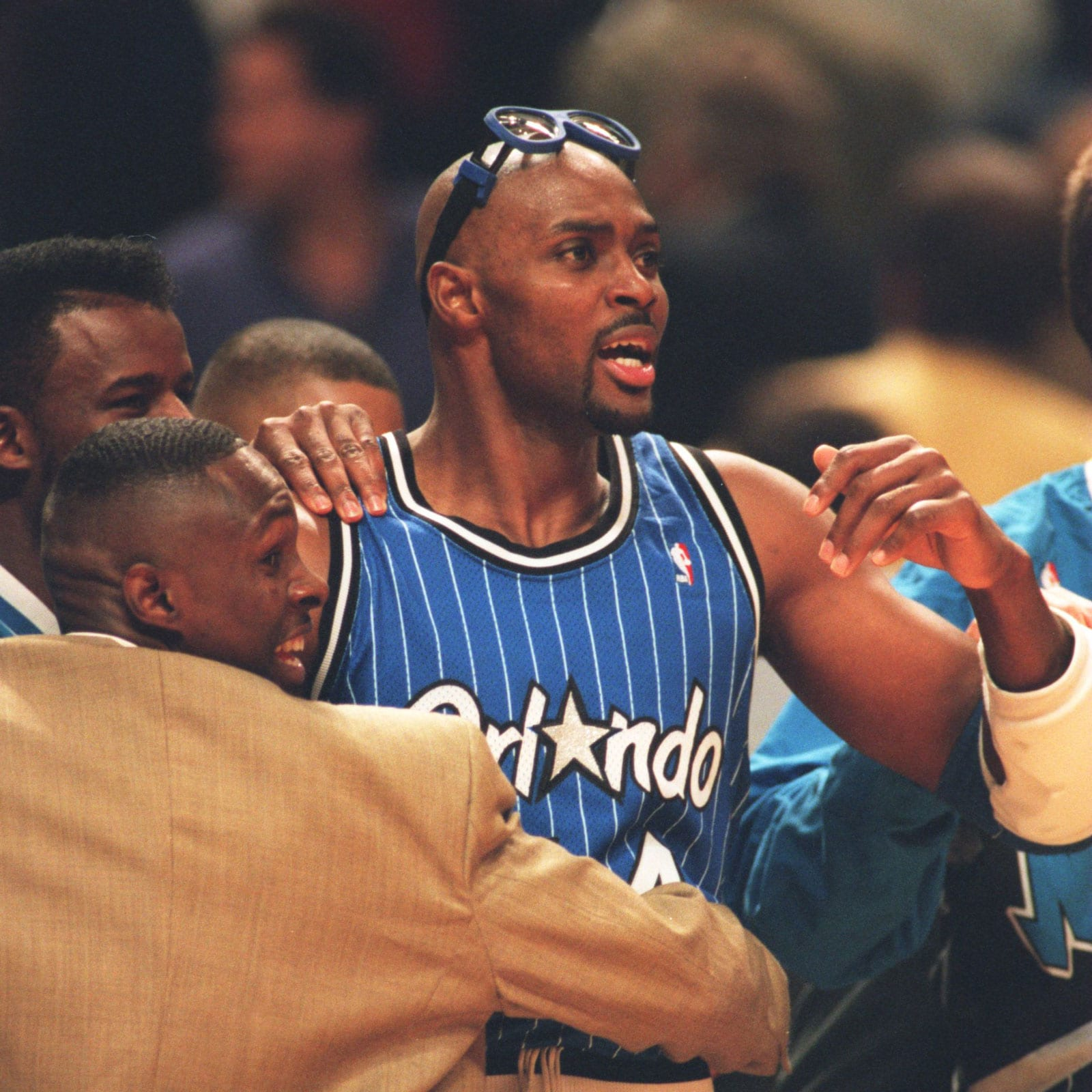 ORLANDO FORWARD HORACE GRANT CELEBRATES DURING THE MAGIC'S 108-102 VICTORY OVER THE CHICAGO BULLS IN THE SECOND ROUND OF THE NBA PLAYOFFS AT THE UNITED CENTER IN CHICAGO, ILLINOIS.