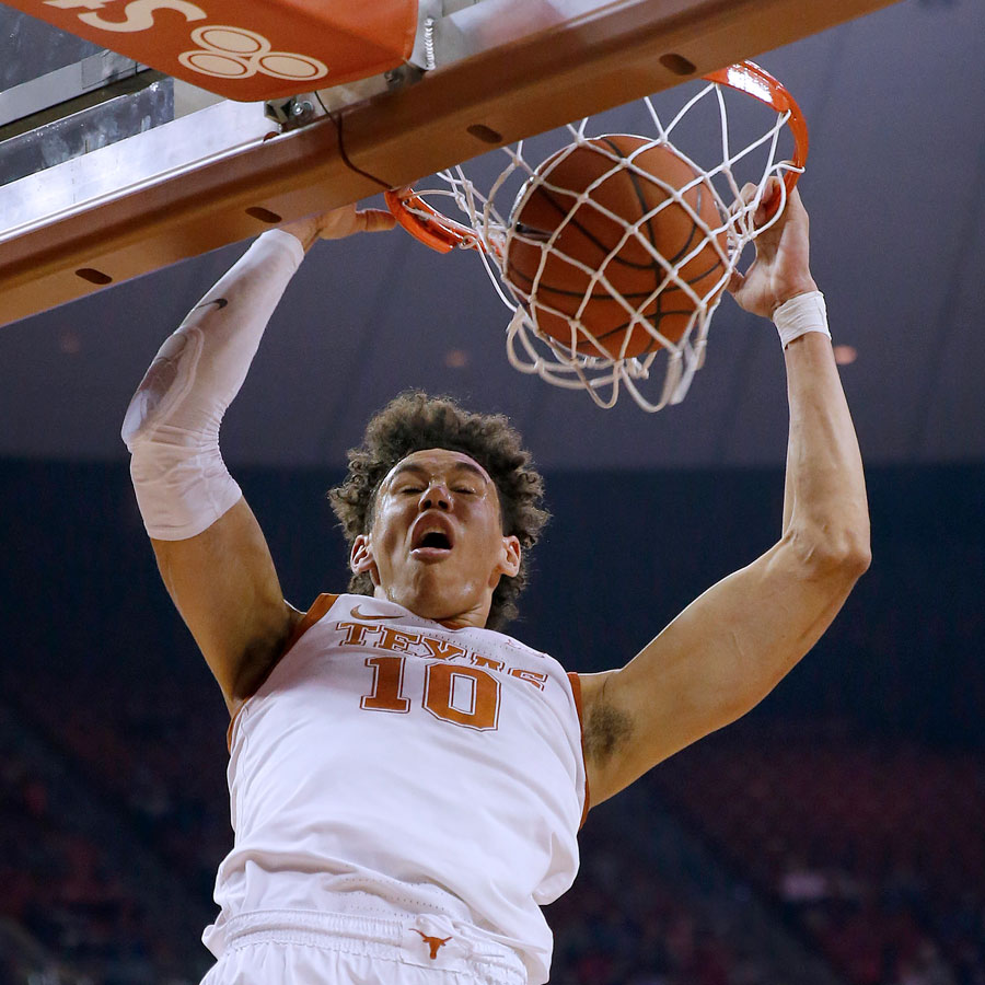 Jaxson Hayes #10 of the Texas Longhorns slam dunks against the Iowa State Cyclones at The Frank Erwin Center on March 02, 2019 in Austin, Texas.