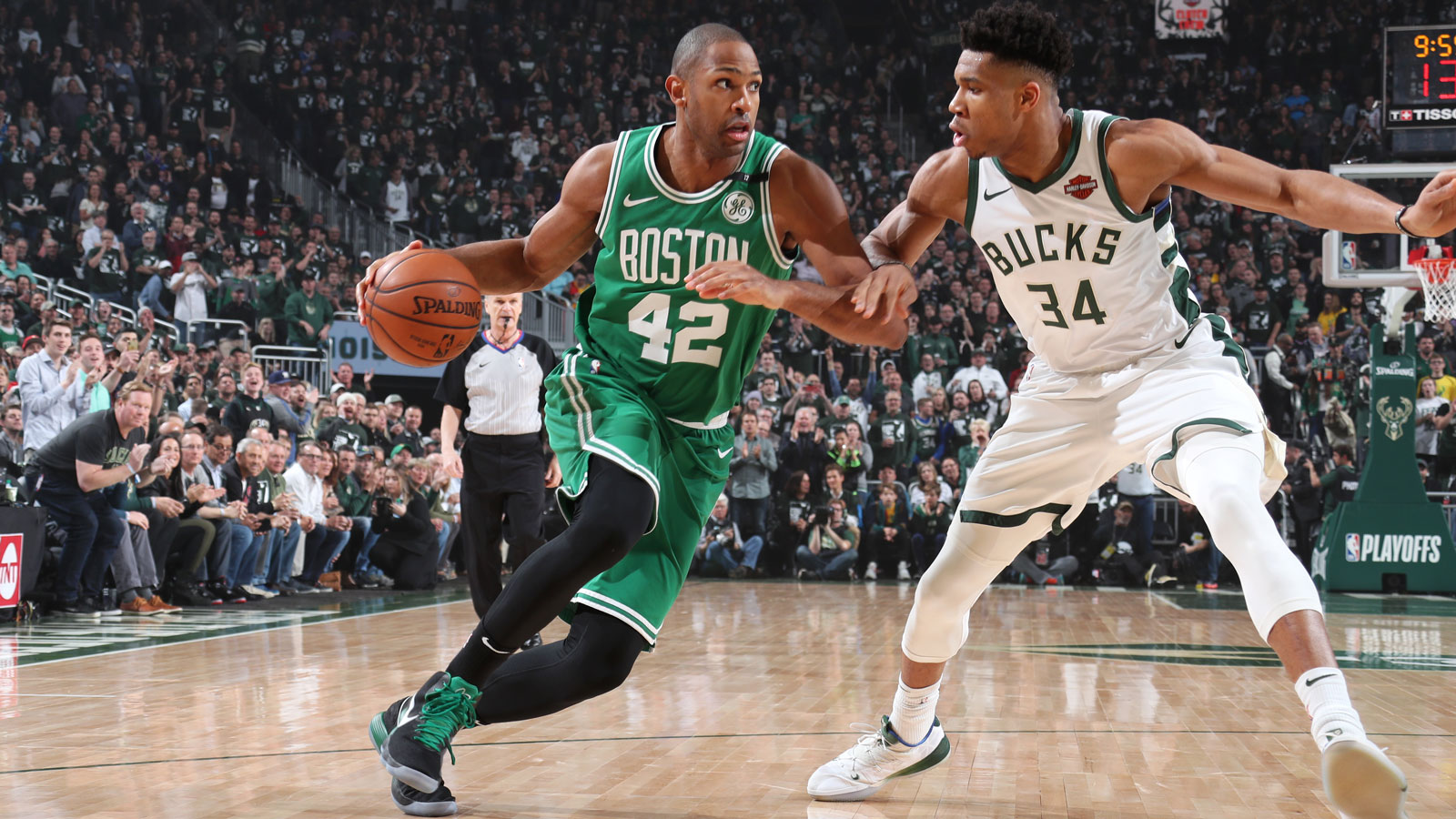 Al Horford #42 of the Boston Celtics drives to the basket against the Milwaukee Bucks during Game Five of the Eastern Conference Semifinals of the 2019 NBA Playoffs on May 8, 2019 at the Fiserv Forum in Milwaukee, Wisconsin.