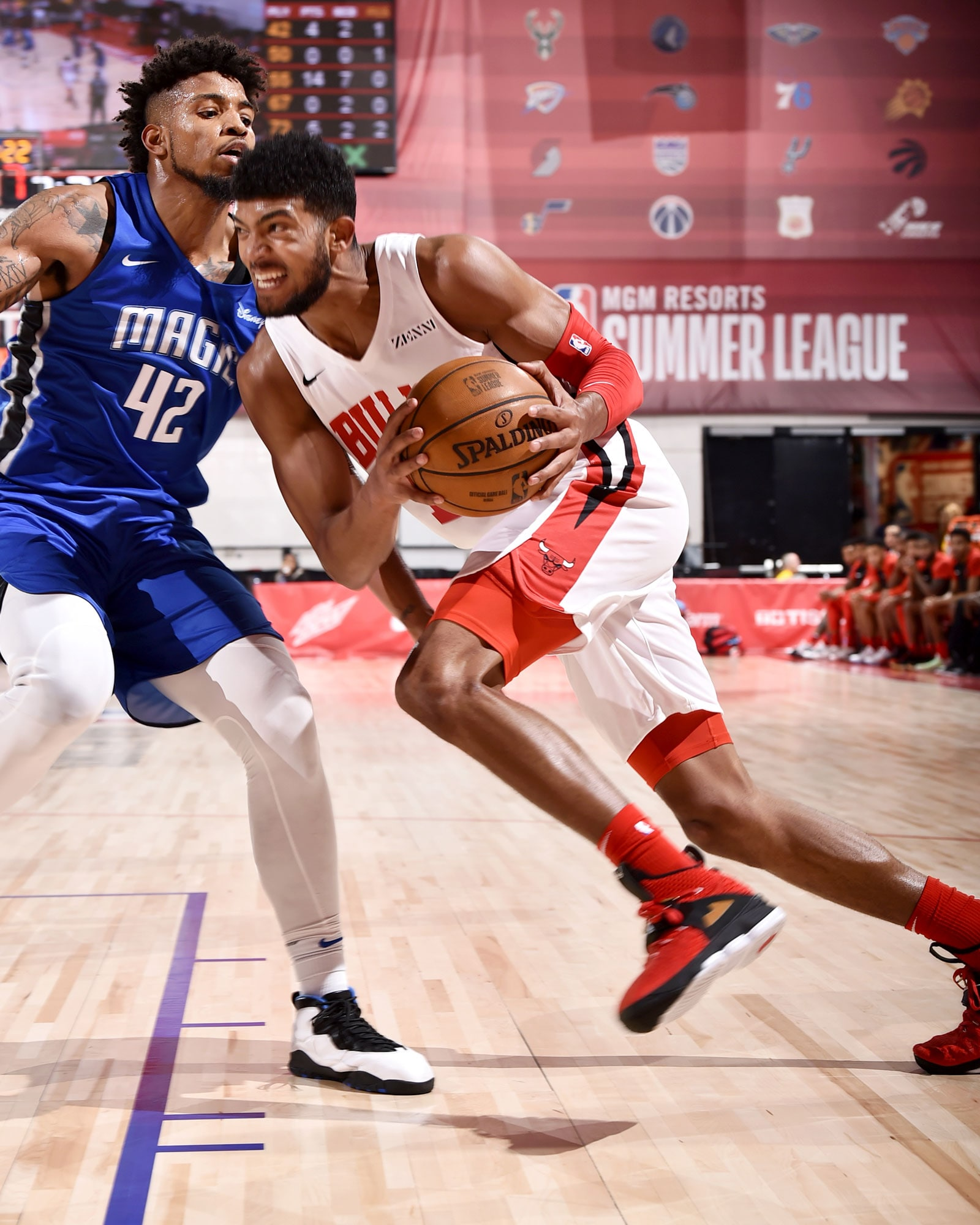 Chandler Hutchison #15 of the Chicago Bulls drives to the basket against the Orlando Magic on July 13, 2019 at the Cox Pavilion in Las Vegas, Nevada.