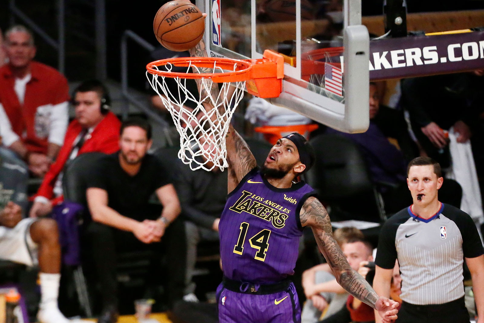 Brandon Ingram #14 of the Los Angeles Lakers dunks the ball against the Milwaukee Bucks on March 1 2019 at STAPLES Center in Los Angeles, California.