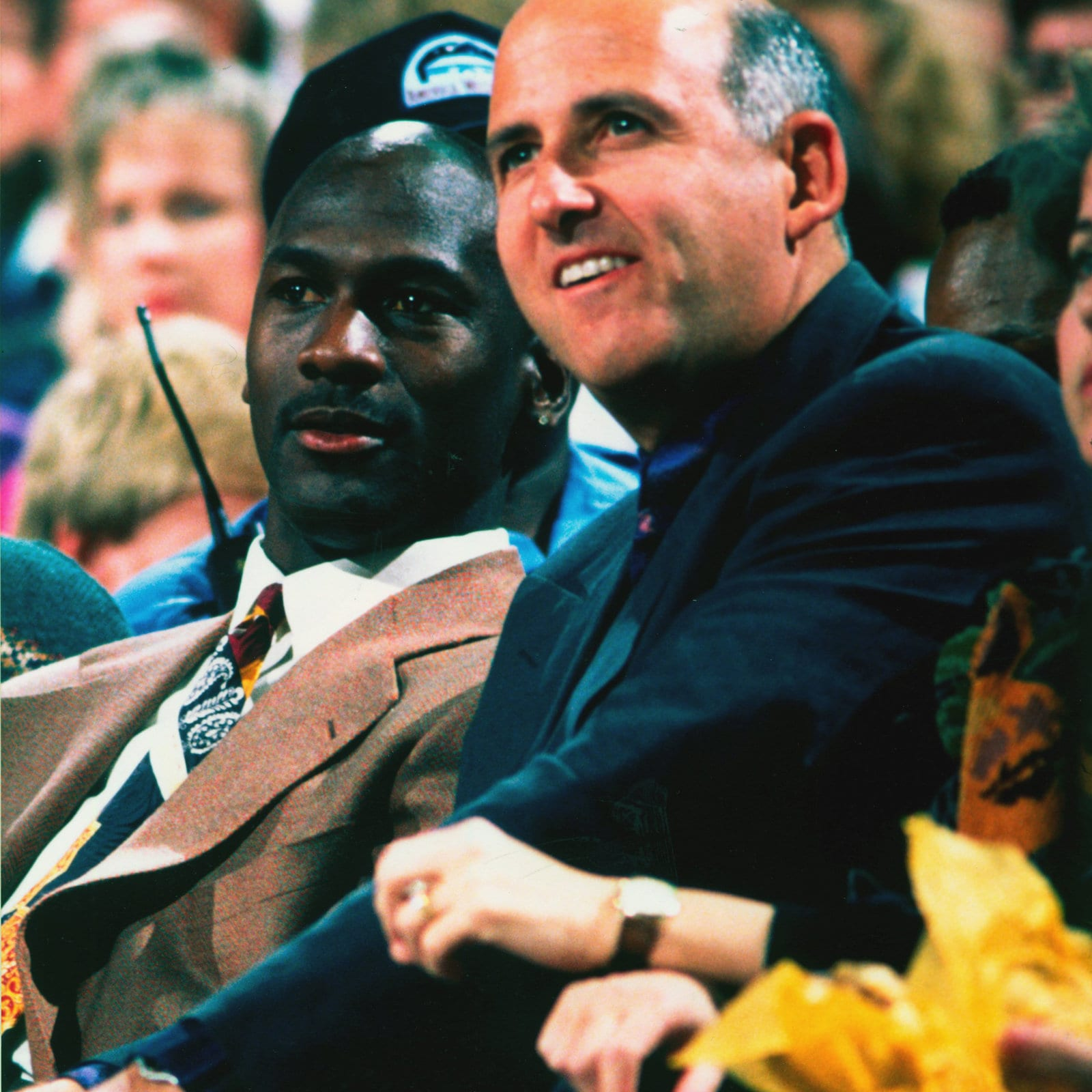 Agent David Falk sits with Michael Jordan of the Chicago Bulls in 1992 in Los Angeles, California.