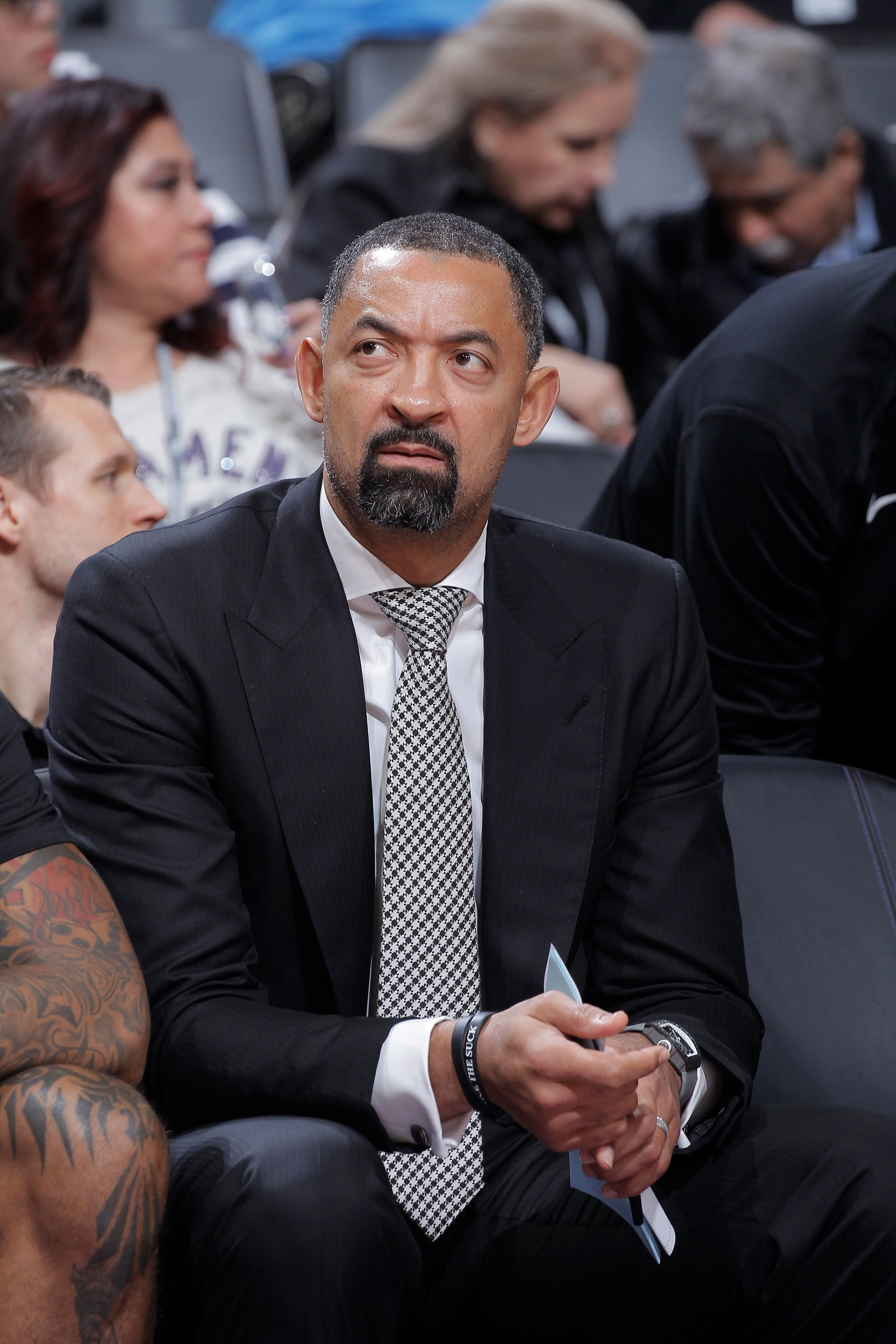 Assistant coach juwan Howard of the Miami Heat looks on during the game against the Sacramento Kings on February 8, 2019 at Golden 1 Center in Sacramento, California.