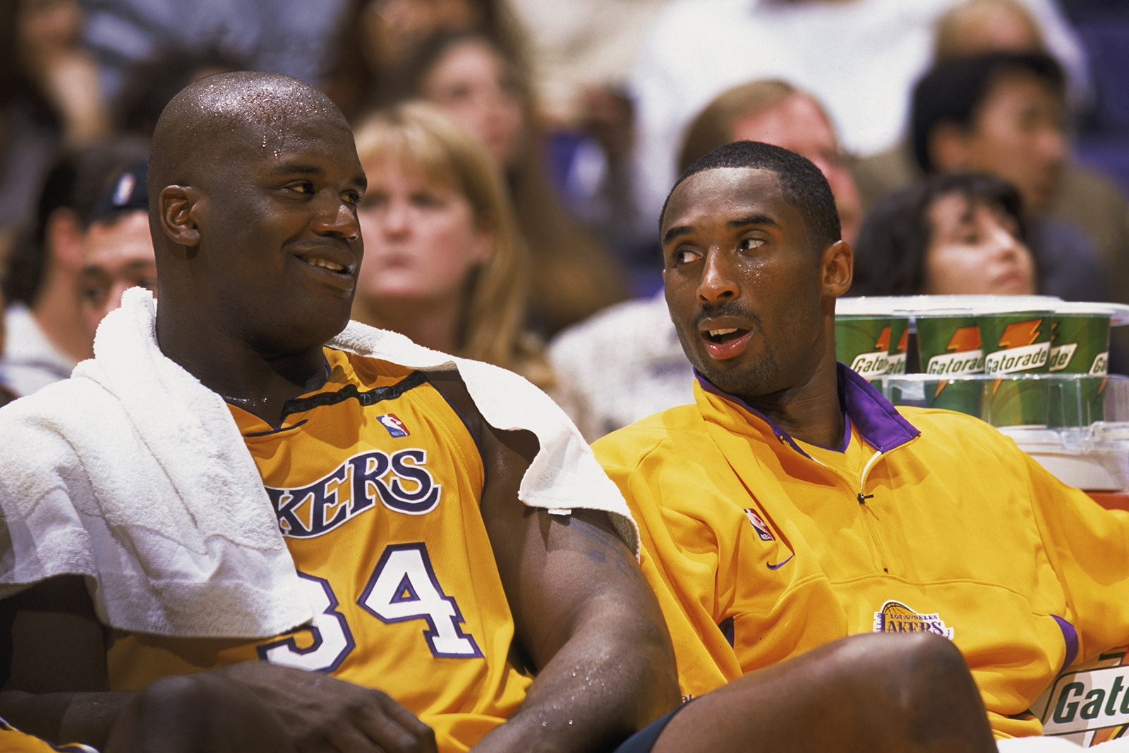 Shaq and Kobe on the bench for the Lakers
