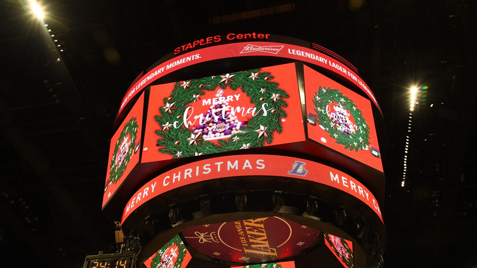 Christmas Day game at the Staples center, showing a wreath on the jumbotron