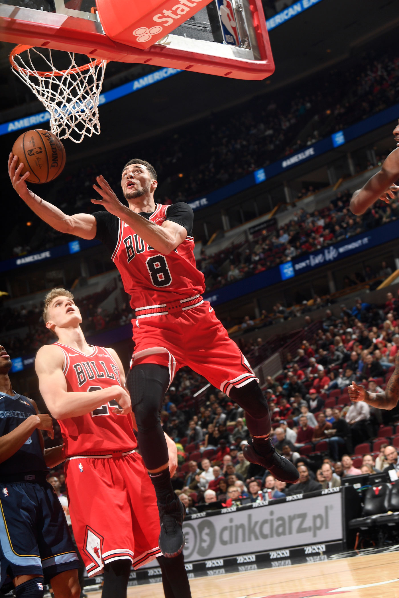 Zach LaVine attempts a layup during a game against the Memphis Grizzlies.