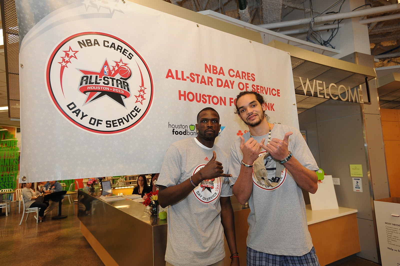 Luol Deng with Joakim Noah at an NBA Cares Event