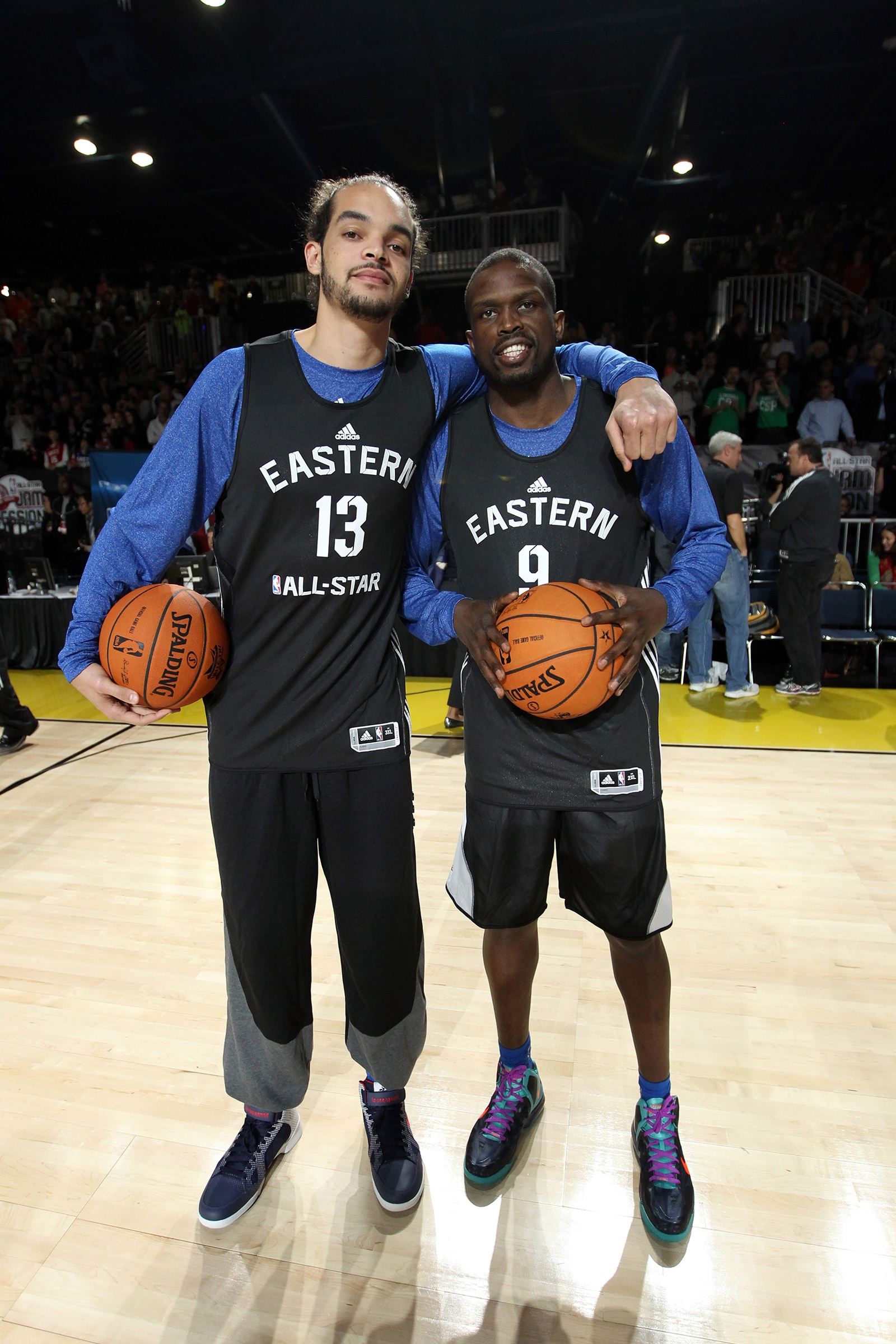 Luol Deng with Joakim Noah before an All Star Game