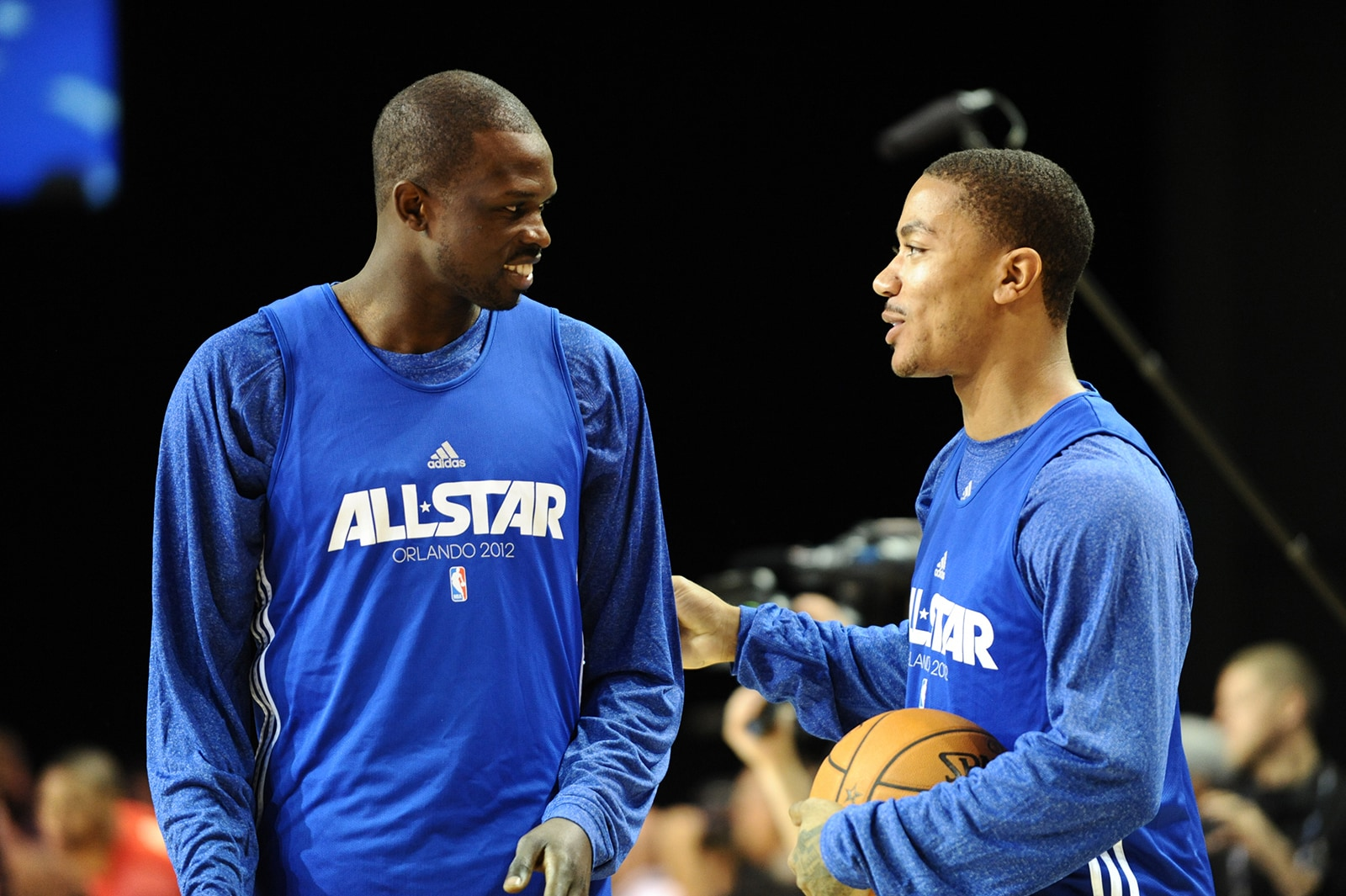 Luol Deng with Derrick Rose before an All Star Game