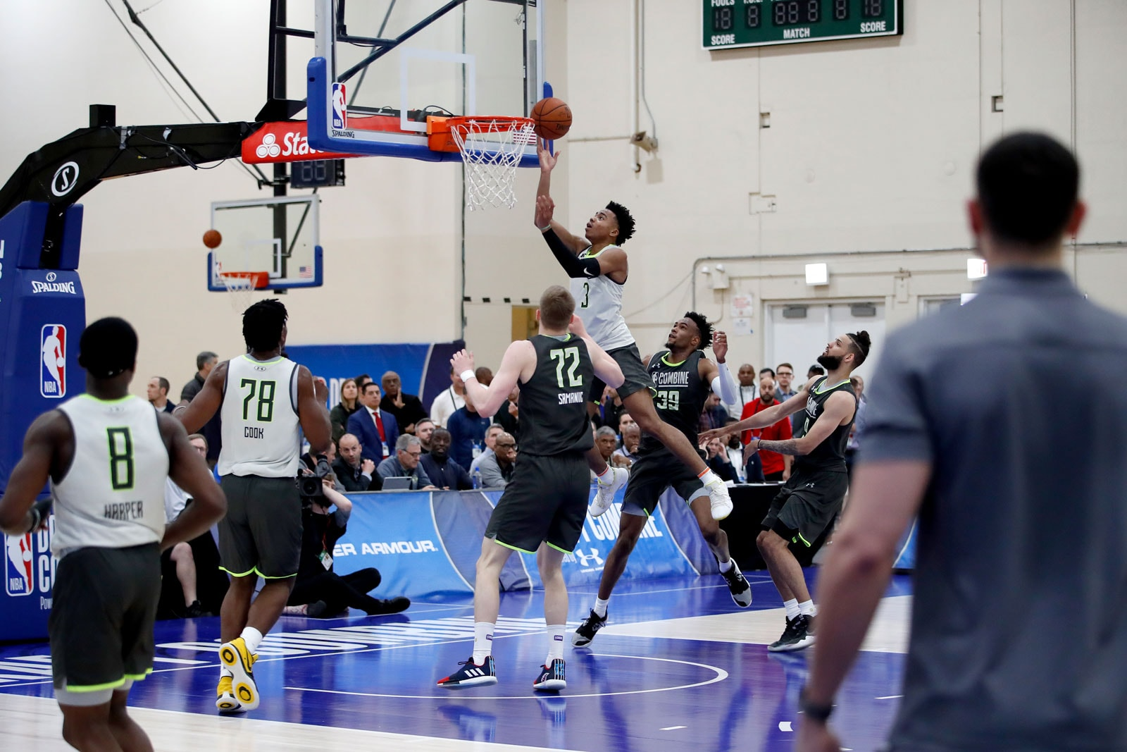 Jalen Lecque #3 shoots the ball in traffic during a scrimmage during Day One of the 2019 NBA Draft Combine on May 16, 2019 at the Quest MultiSport Complex in Chicago, Illinois.
