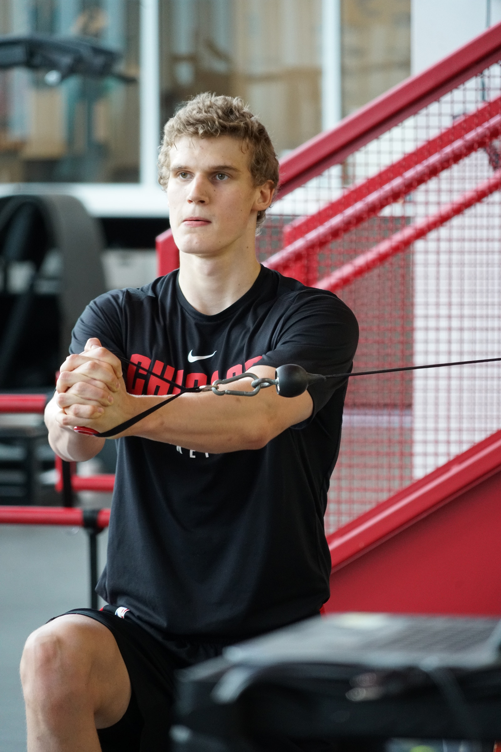 Lauri working out at the Advocate Center this off-season