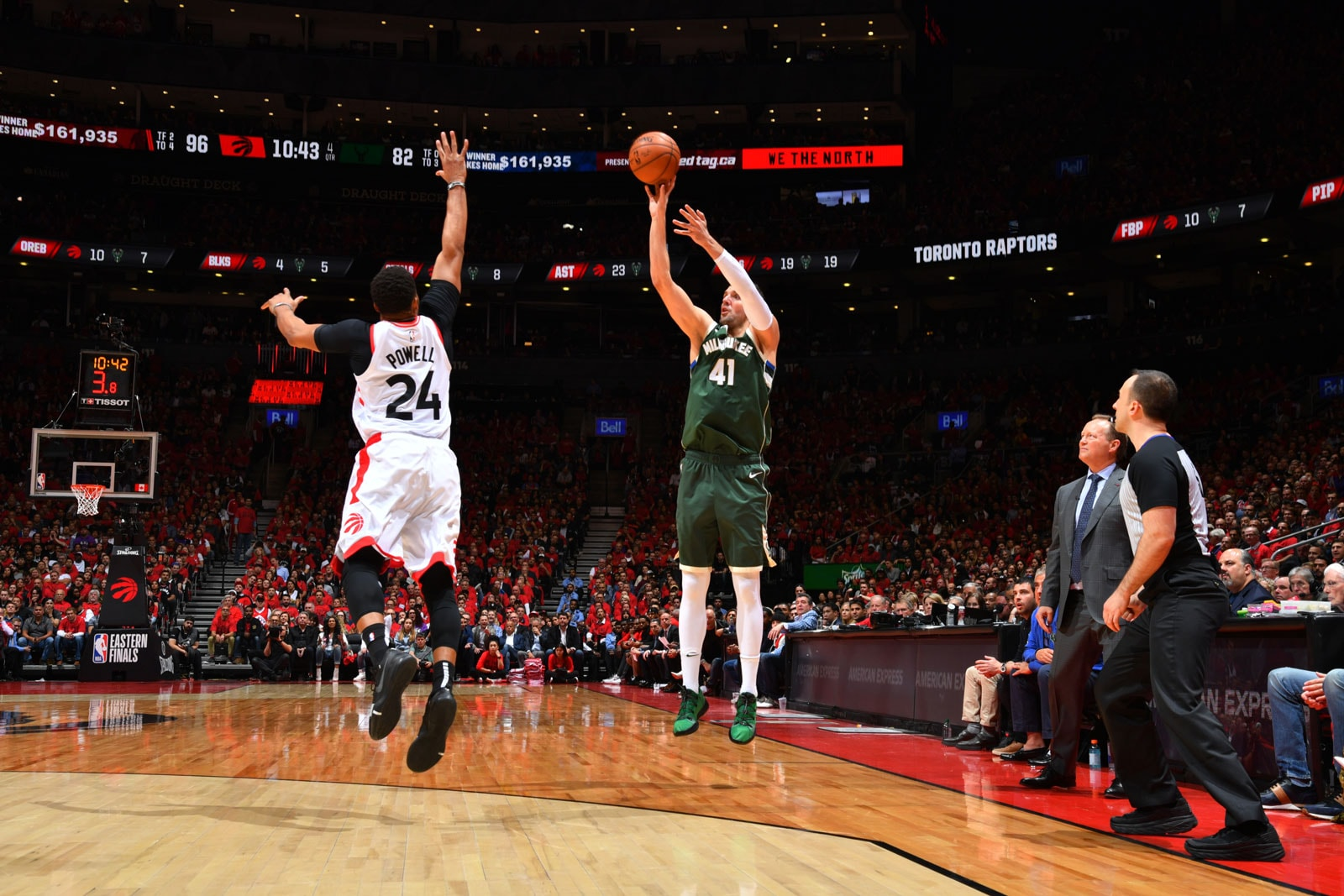 Nikola Mirotic #41 of the Milwaukee Bucks shoots a three-pointer against the Toronto Raptors during Game Four of the Eastern Conference Finals of the 2019 NBA Playoffs on May 19, 2019 at the Scotiabank Arena in Toronto, Ontario, Canada.