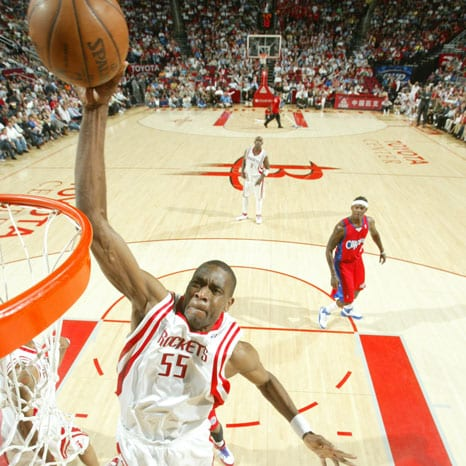 Dikembe Mutumbo #55 of the Houston Rockets shoots the ball on April 16, 2008 at the Toyota Center in Houston, Texas.