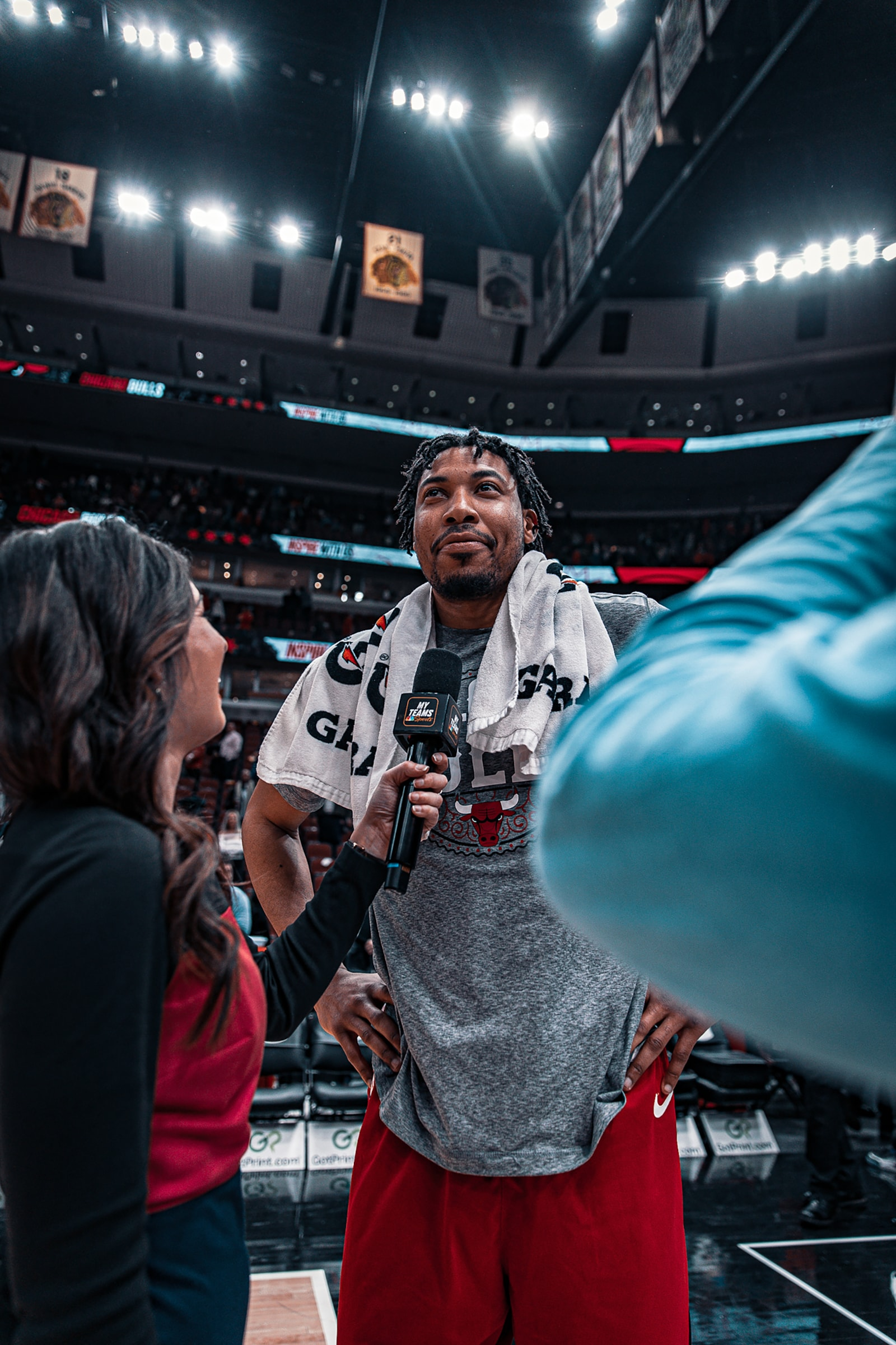 OPJ hgives an interview after the game