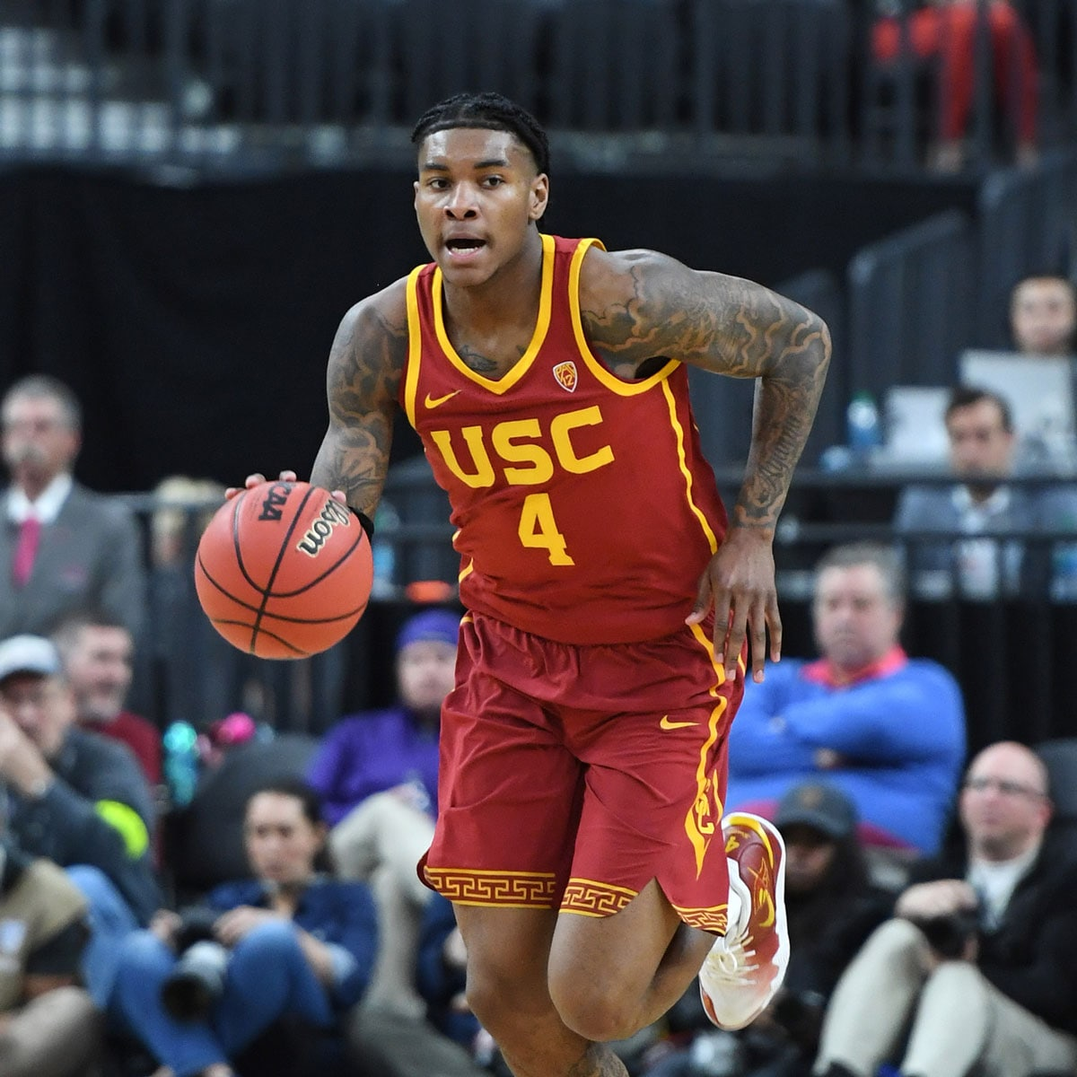 Kevin Porter Jr. #4 of the USC Trojans brings the ball up the court against the Washington Huskies during a quarterfinal game of the Pac-12 basketball tournament at T-Mobile Arena on March 14, 2019 in Las Vegas, Nevada. The Huskies defeated the Trojans 78-75.