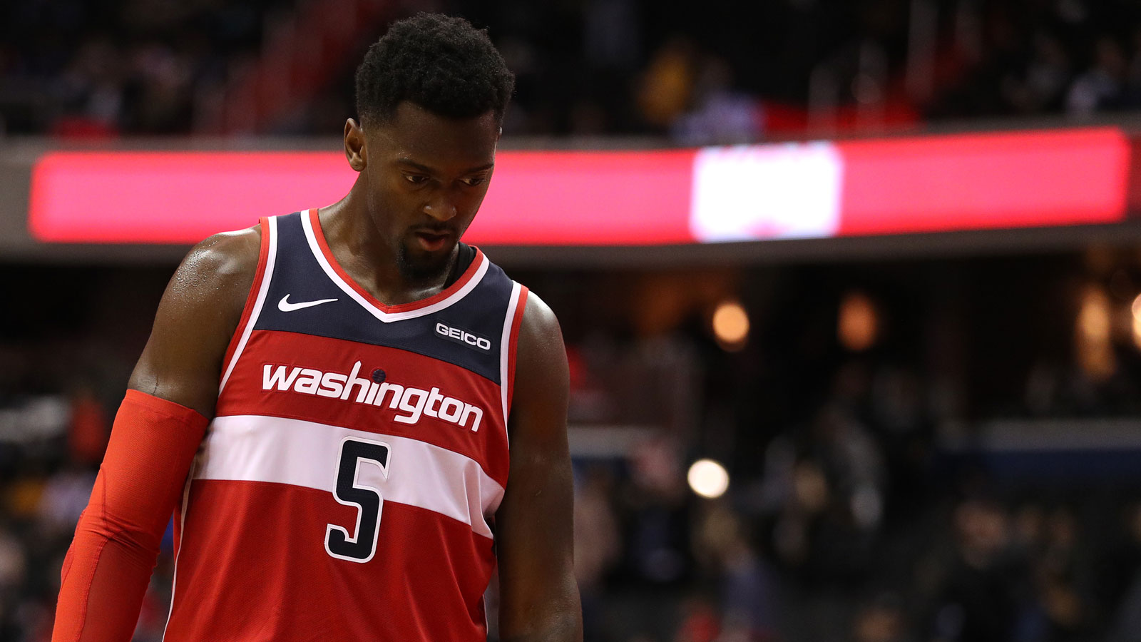 Bobby Portis #5 of the Washington Wizards looks on against the San Antonio Spurs during the second half at Capital One Arena on April 05, 2019 in Washington, DC.
