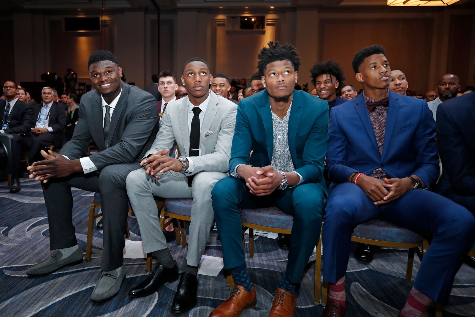 NBA Draft Prospects, Zion Williamson, RJ Barrett, Cam Reddish and Jarrett Culver attend the 2019 NBA Draft Lottery on May 14, 2019 at the Chicago Hilton in Chicago, Illinois.
