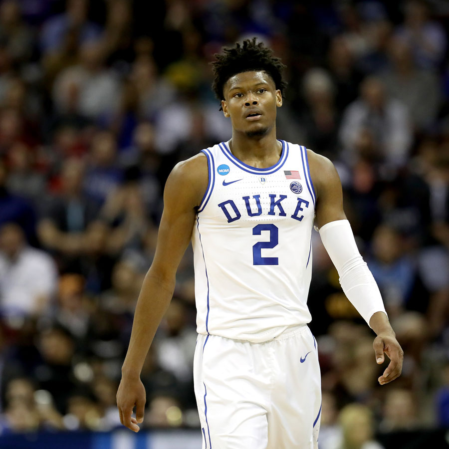 Cam Reddish #2 of the Duke Blue Devils reacts against the North Dakota State Bison in the first half during the first round of the 2019 NCAA Men's Basketball Tournament at Colonial Life Arena on March 22, 2019 in Columbia, South Carolina.