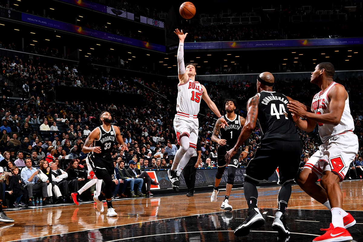Ryan Archidiacono of the Chicago Bulls shoots the ball