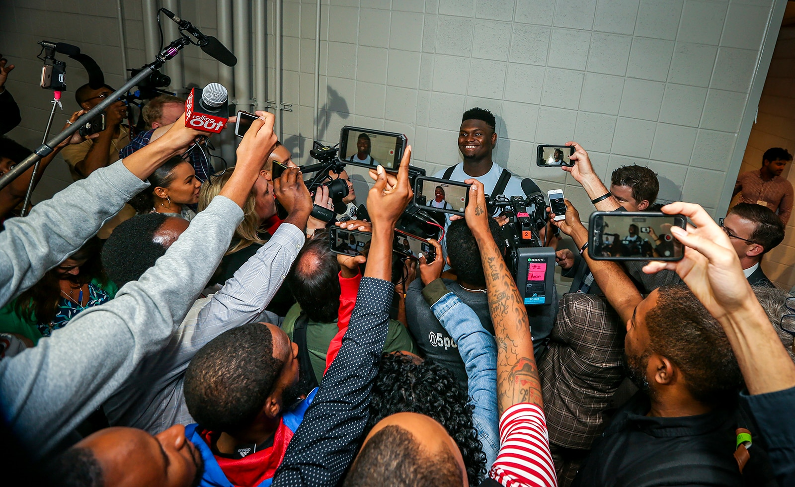 Zion talks to the media