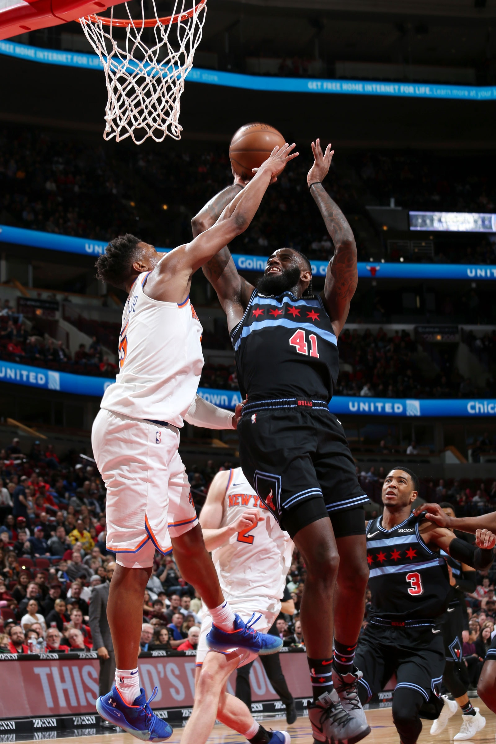 JaKarr Sampson #41 of the Chicago Bulls shoots the ball against the New York Knicks on April 9, 2019 at the United Center in Chicago, Illinois.