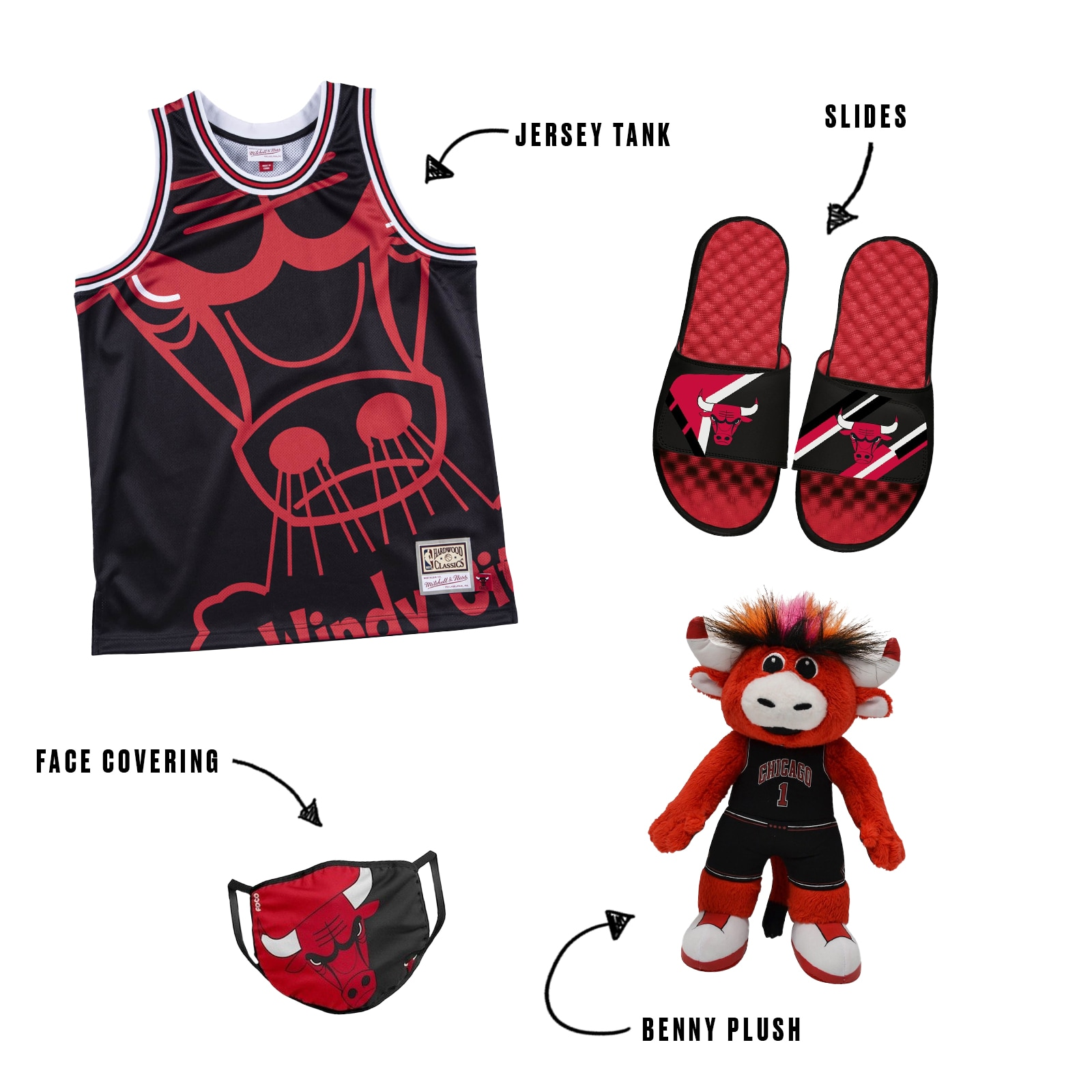 Youth Bulls vest and slides combo