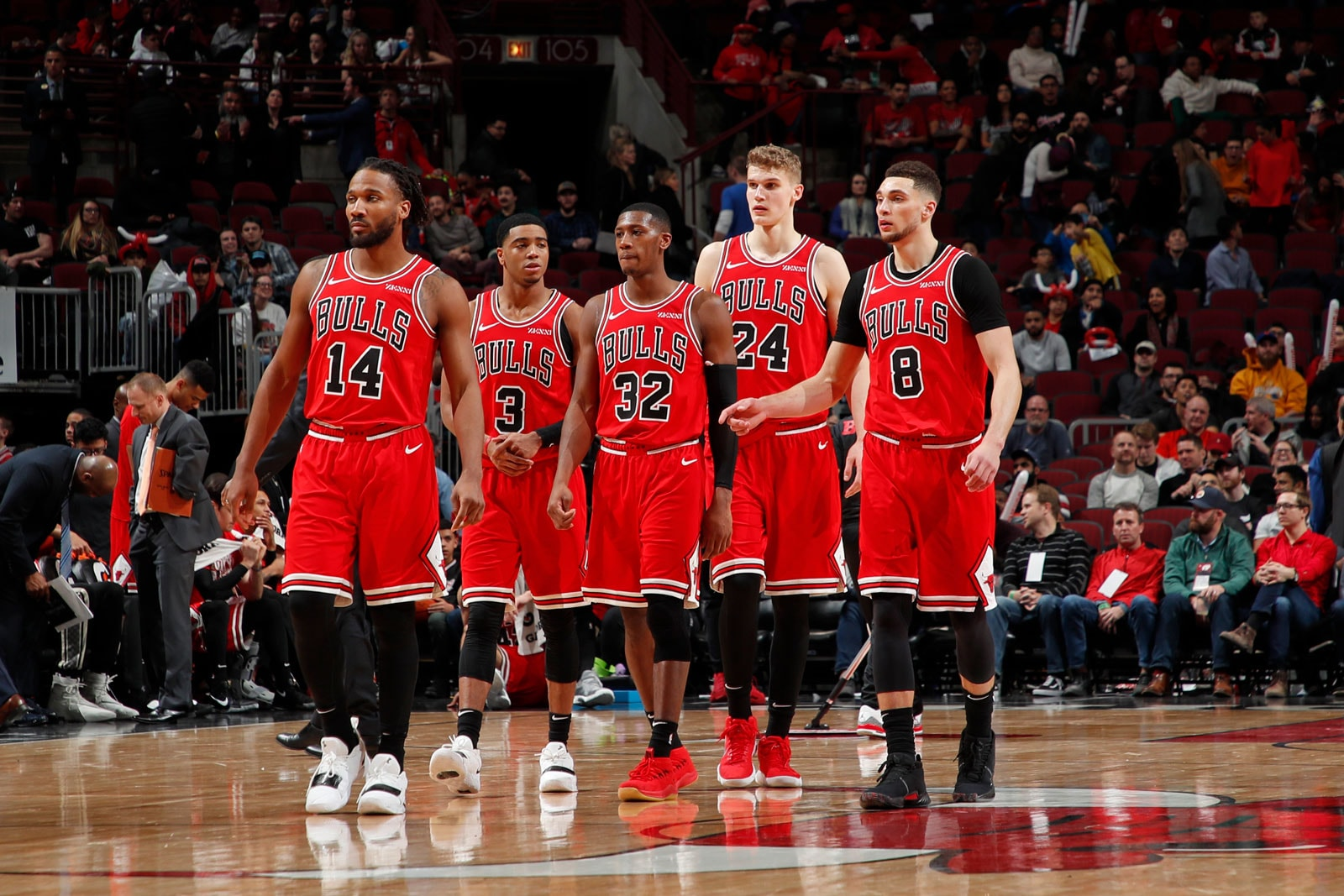 Wayne Seldon #14, Shaquille Harrison #3, Kris Dunn #32, Lauri Markkanen #24, and Zach LaVine #8 of the Chicago Bulls walk up the court during the game against the New Orleans Pelicans on February 6, 2019 at United Center in Chicago, Illinois.
