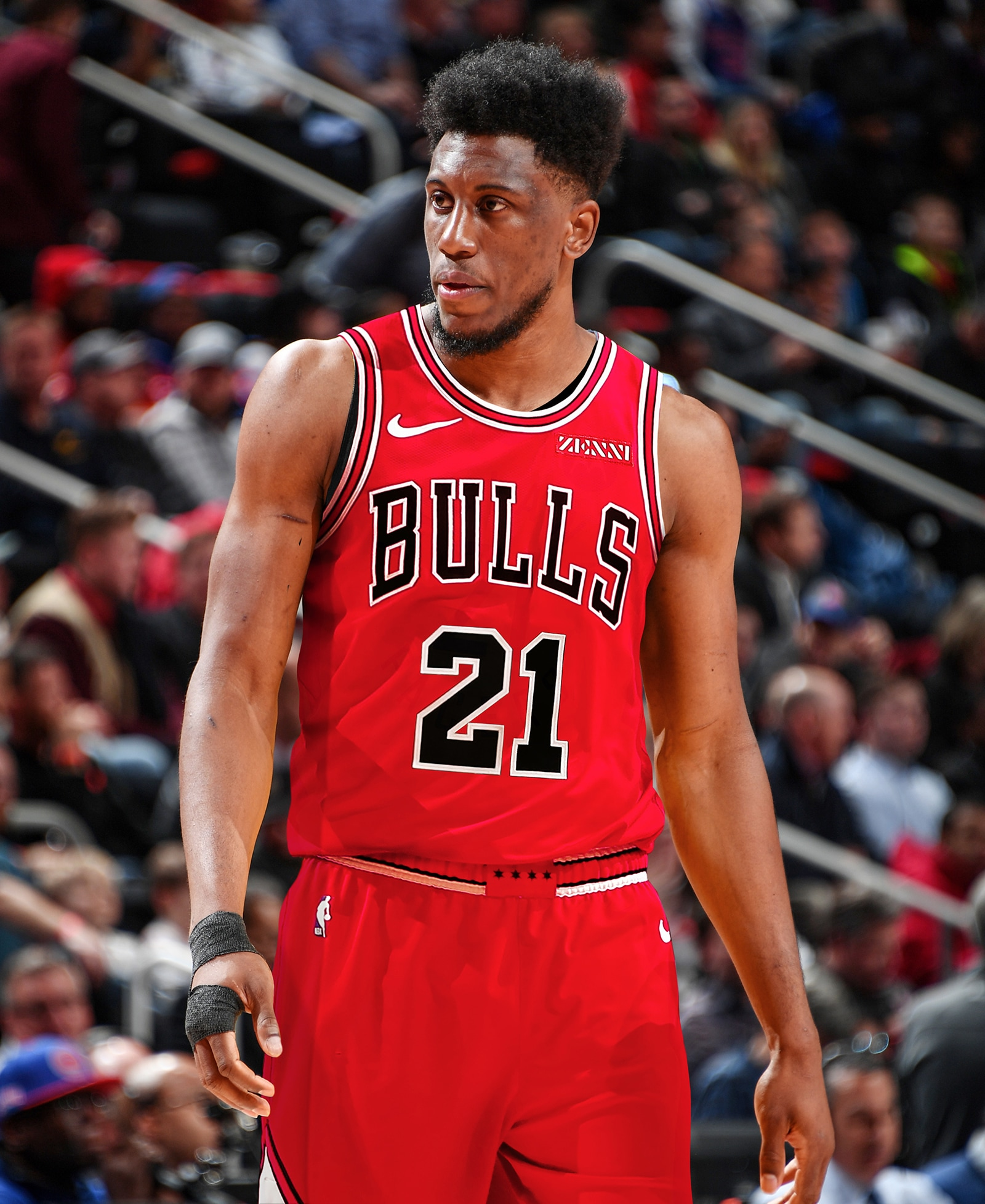 Thaddeus Young Wearing a Bulls Jersey