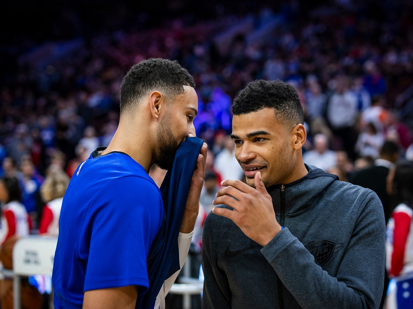 Timothe Luwawu-Cabarrot talking to Ben Simmons